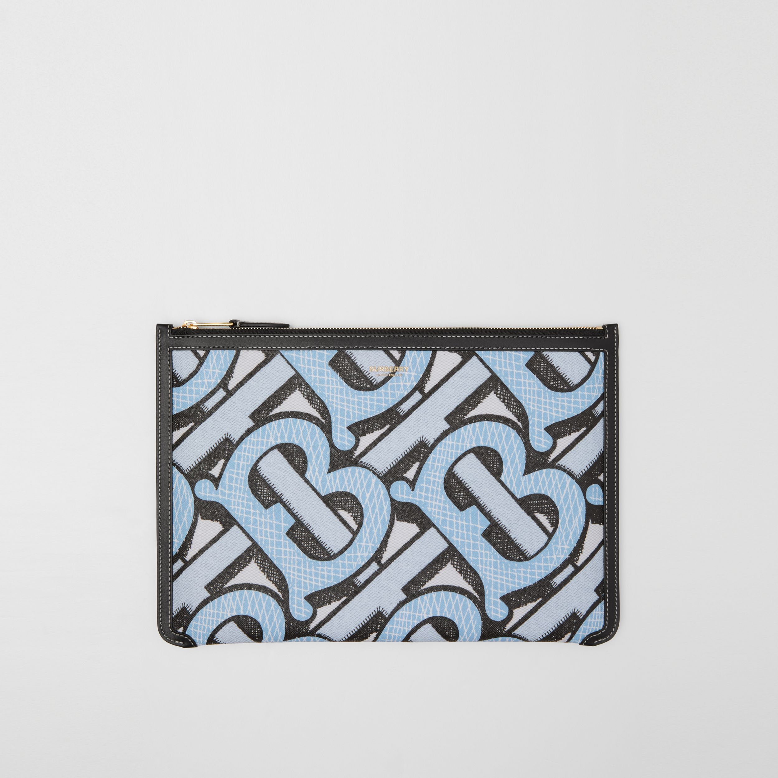 Monogram Print E-canvas and Leather Pouch in Pale Azure - Women | Burberry - 1