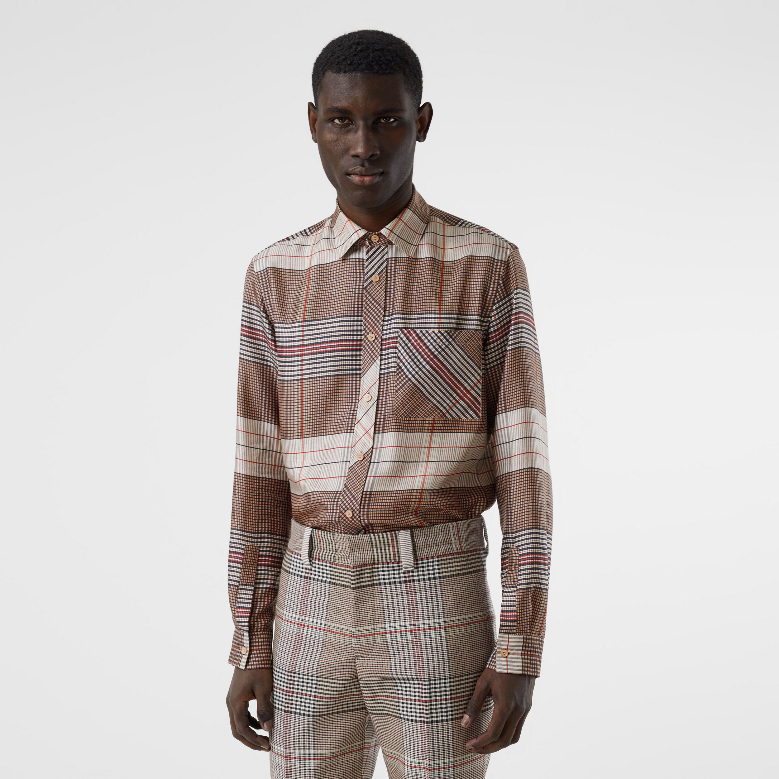 Classic Fit Contrast Check Silk Twill Shirt in Buttermilk - Men | Burberry - 1