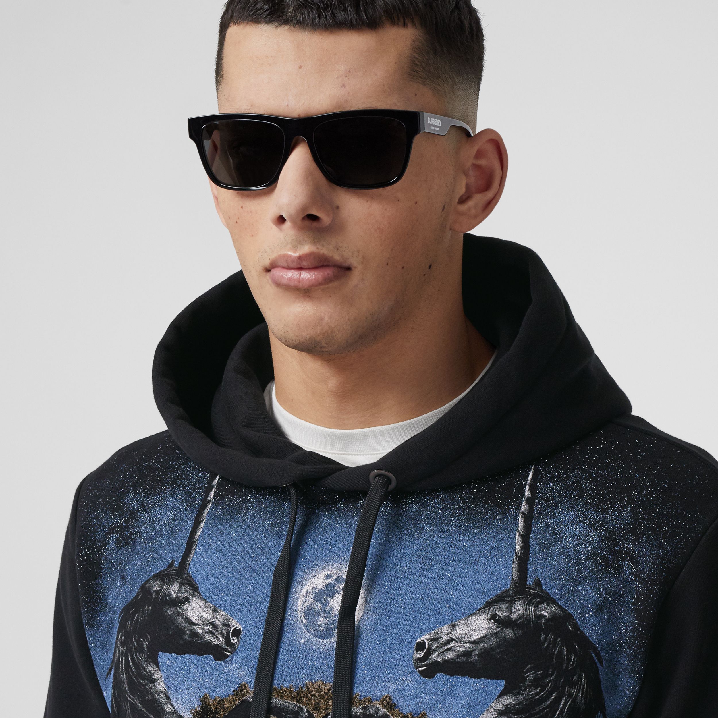 Meadow Print Cotton Hoodie in Black - Men | Burberry - 2