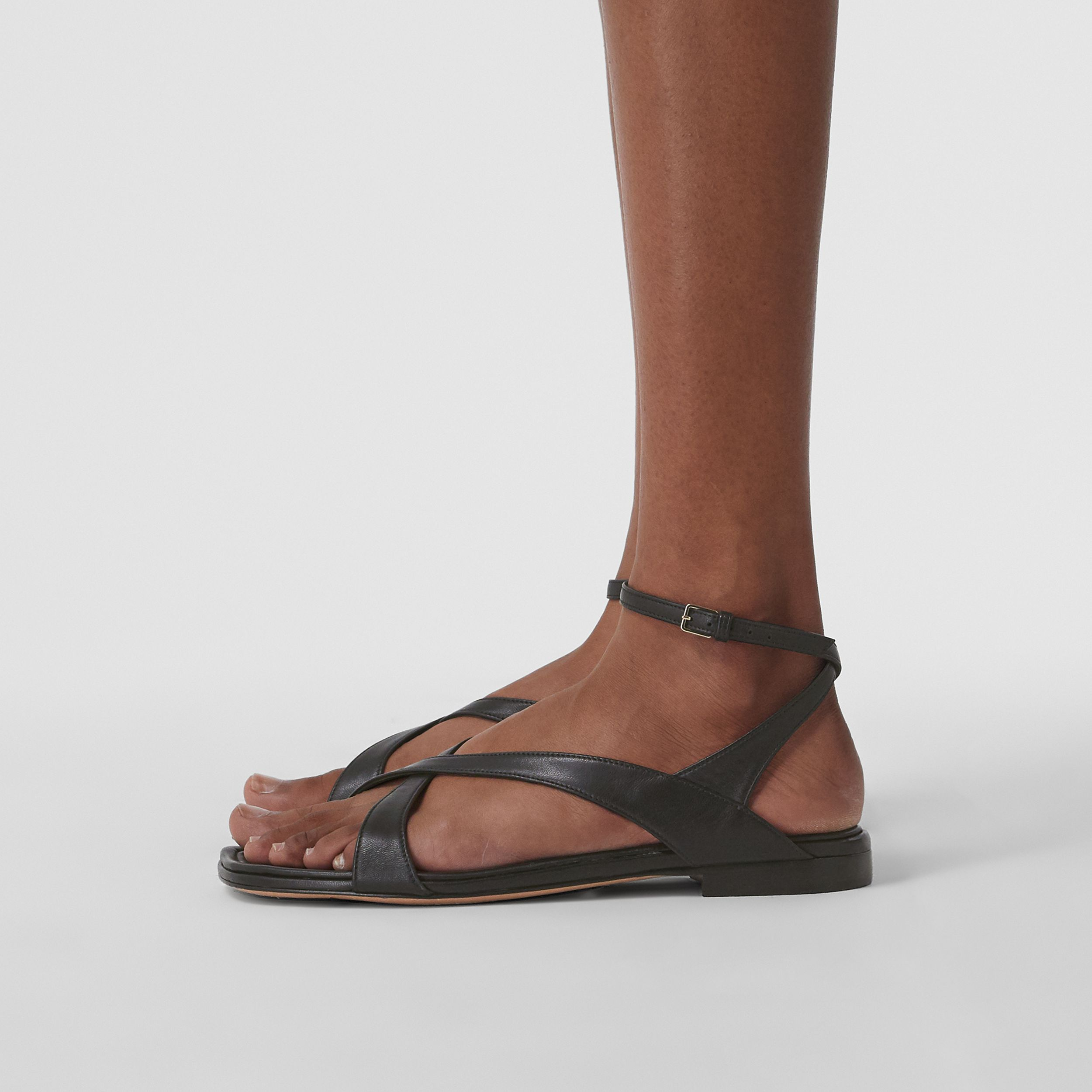 Lambskin Wraparound Sandals in Black - Women | Burberry - 3