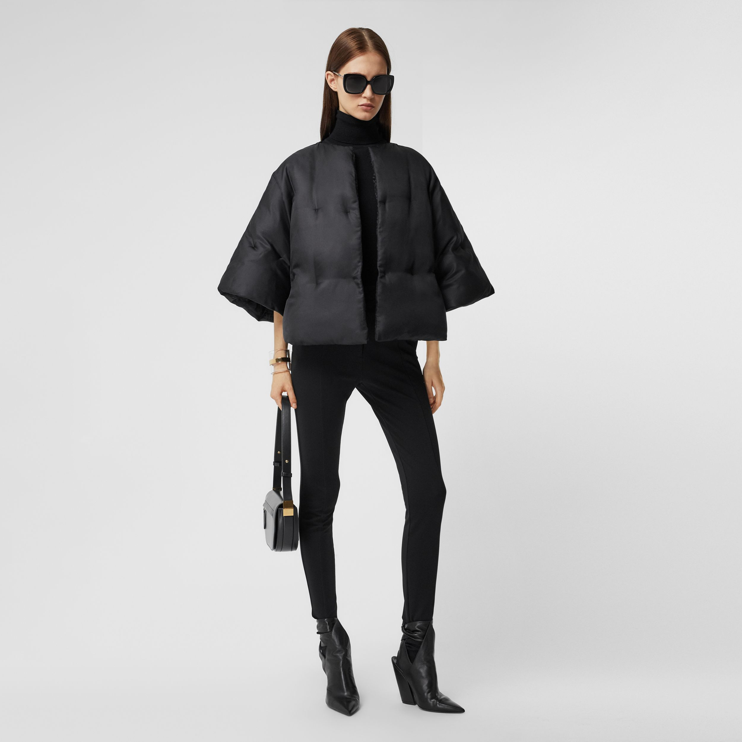 Silk Twill Puffer Cape in Black - Women | Burberry - 1
