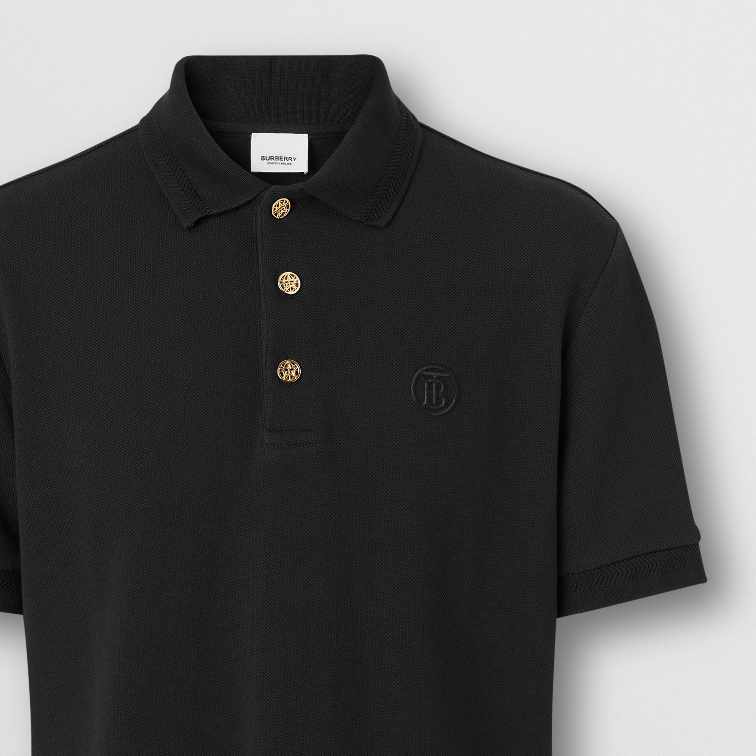 Button Detail Cotton Piqué Polo Shirt in Black - Men | Burberry - 2