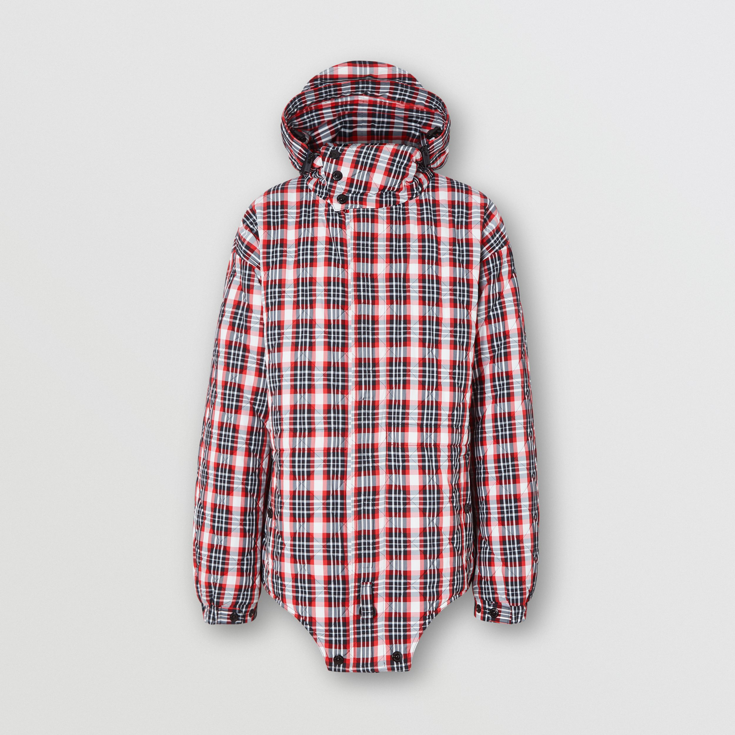 Cut-out Hem Diamond Quilted Check Nylon Parka in Bright Red | Burberry - 4
