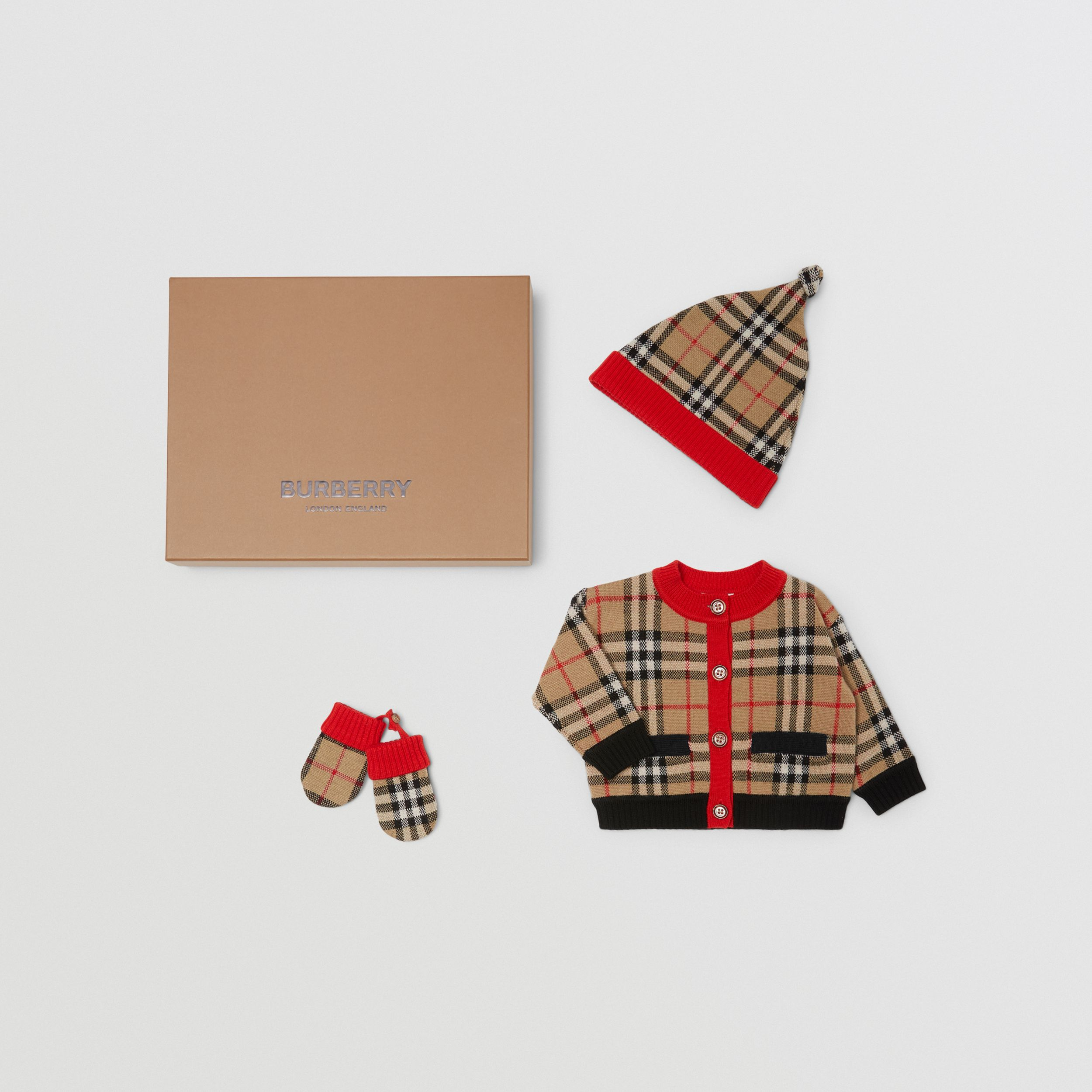 Check Merino Wool Jacquard Three-piece Baby Gift Set in Archive Beige - Children | Burberry - 3