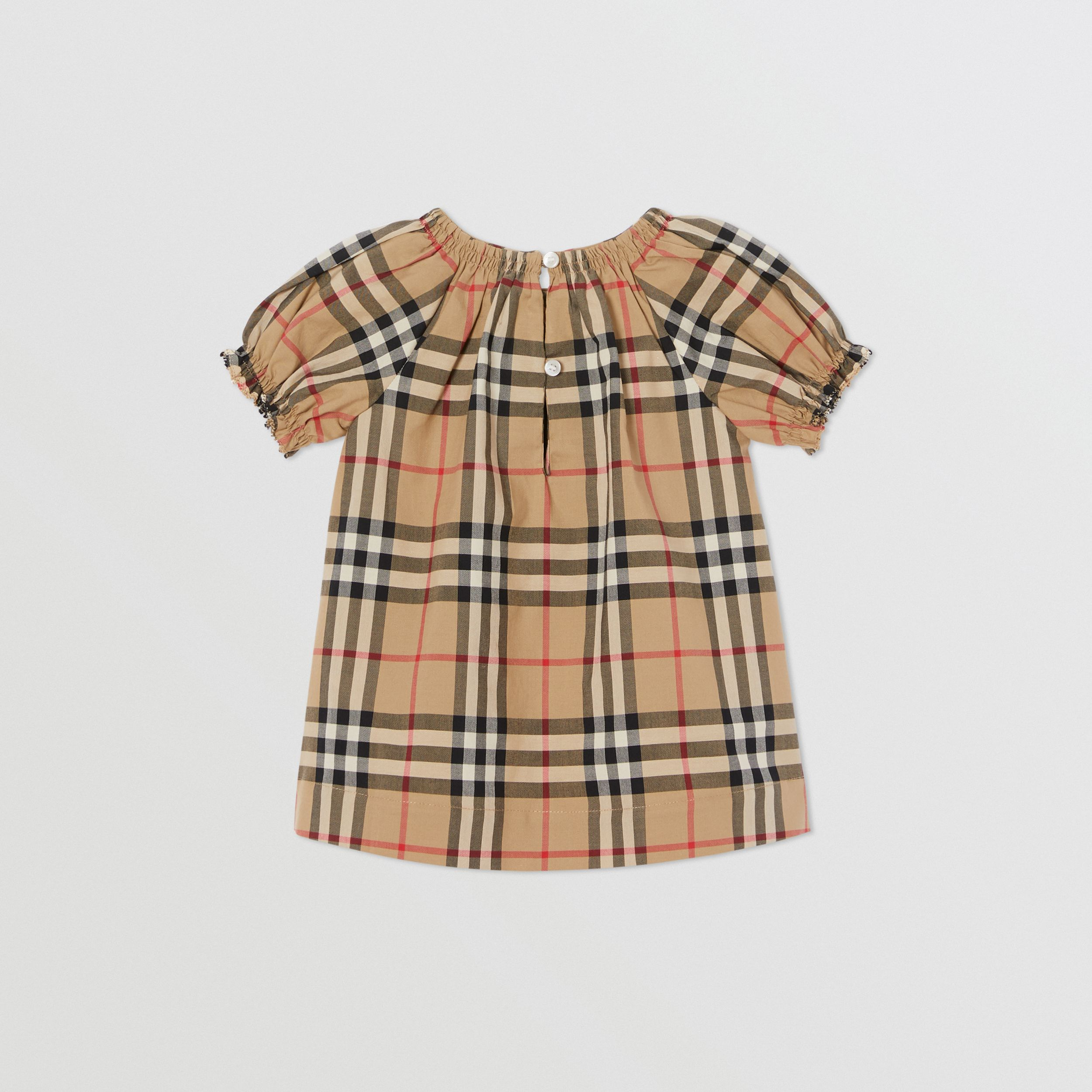Ruched Vintage Check Cotton Dress with Bloomers in Archive Beige - Children | Burberry - 4