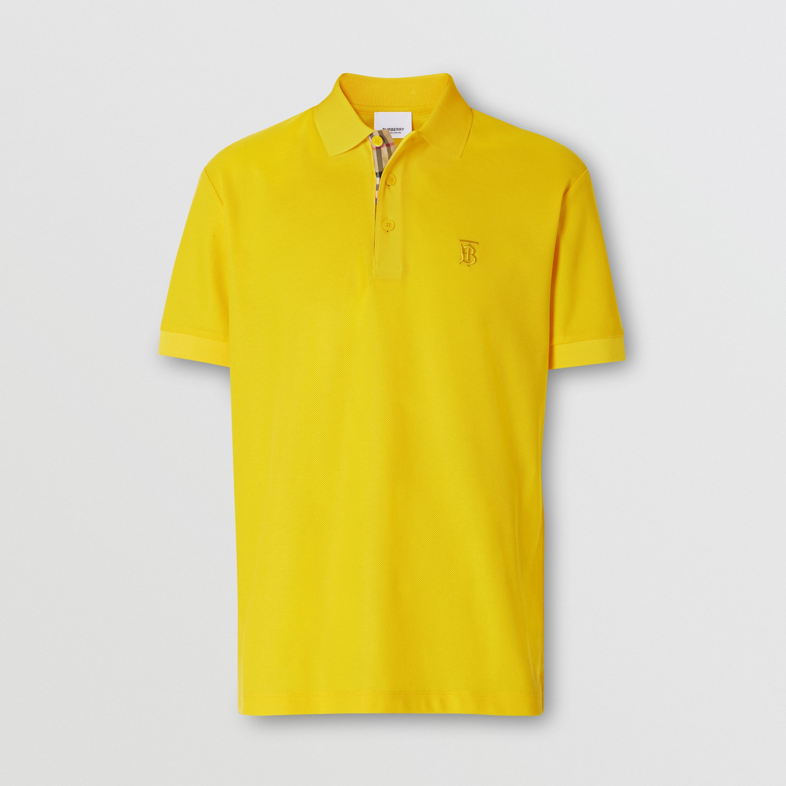 Monogram Motif Cotton Piqué Polo Shirt in Canary Yellow - Men | Burberry - 4