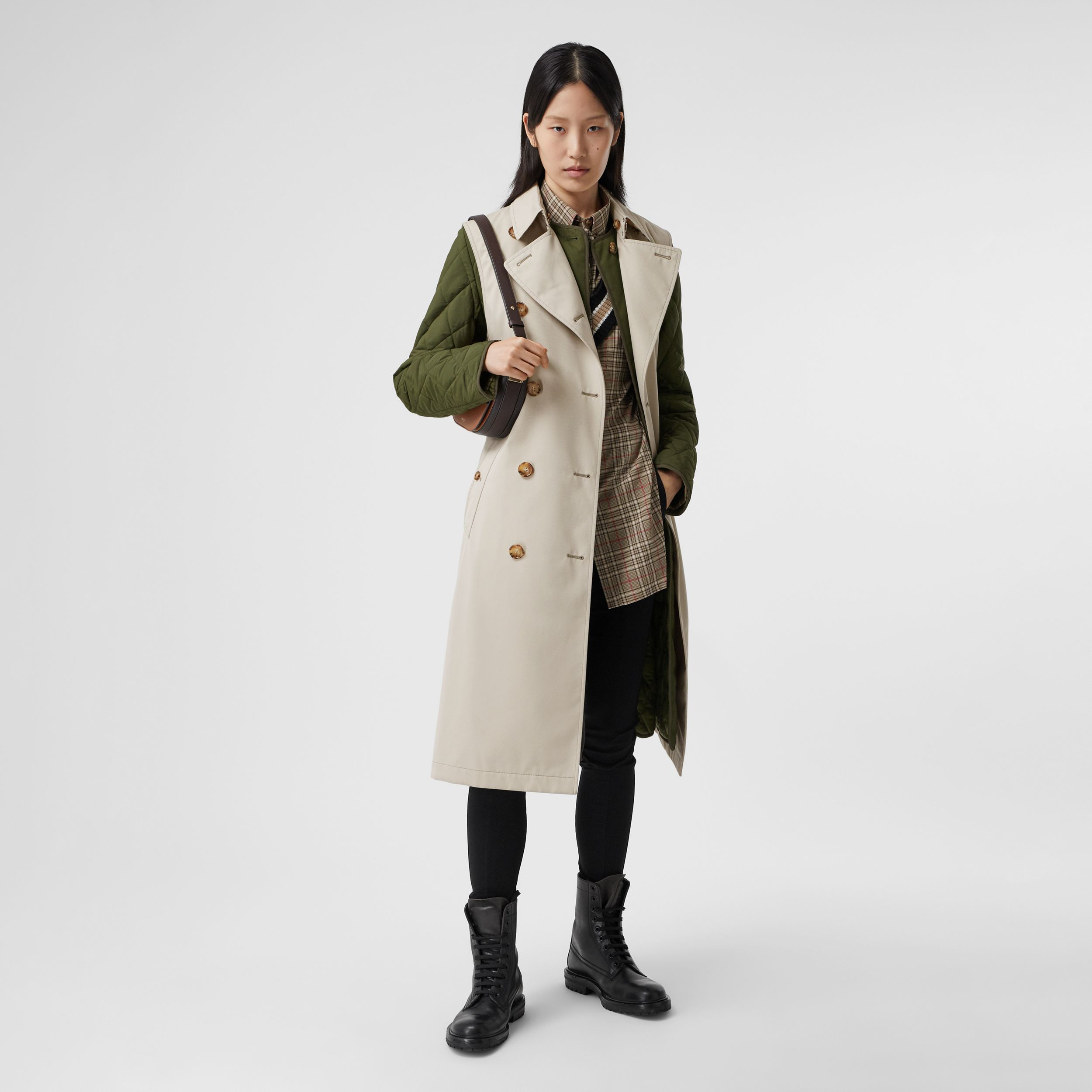 Sleeveless Trench Coat with Detachable Warmer in Stone - Women | Burberry - 1