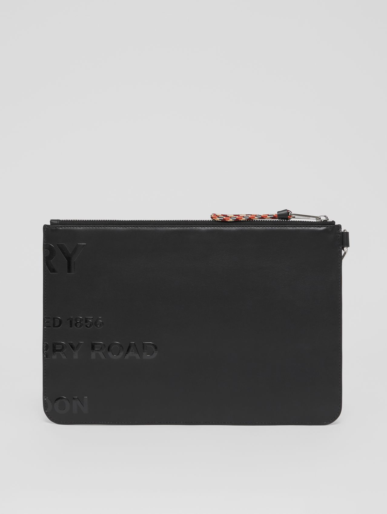 Horseferry Print Leather Zip Pouch in Black