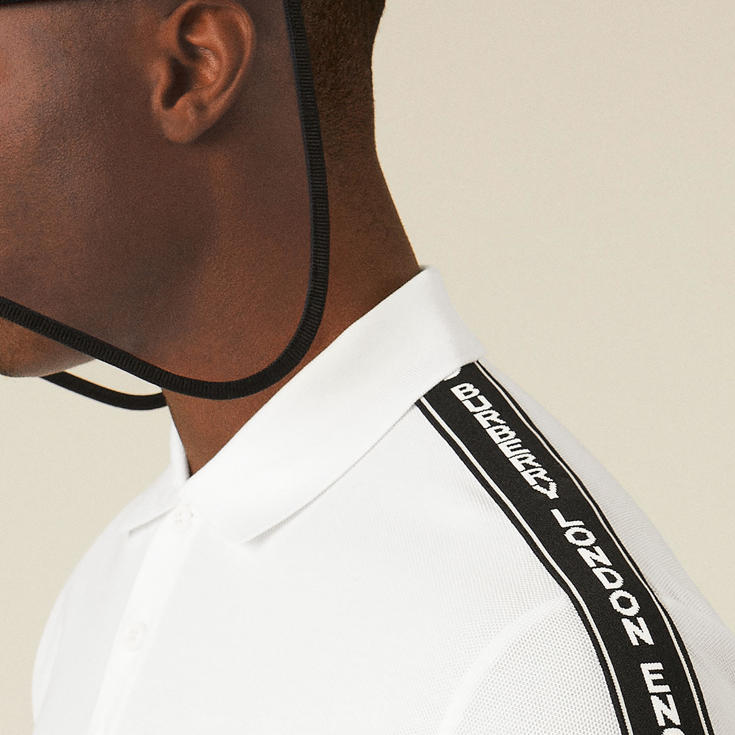 Logo Tape Cotton Piqué Polo Shirt in White - Men | Burberry - 2