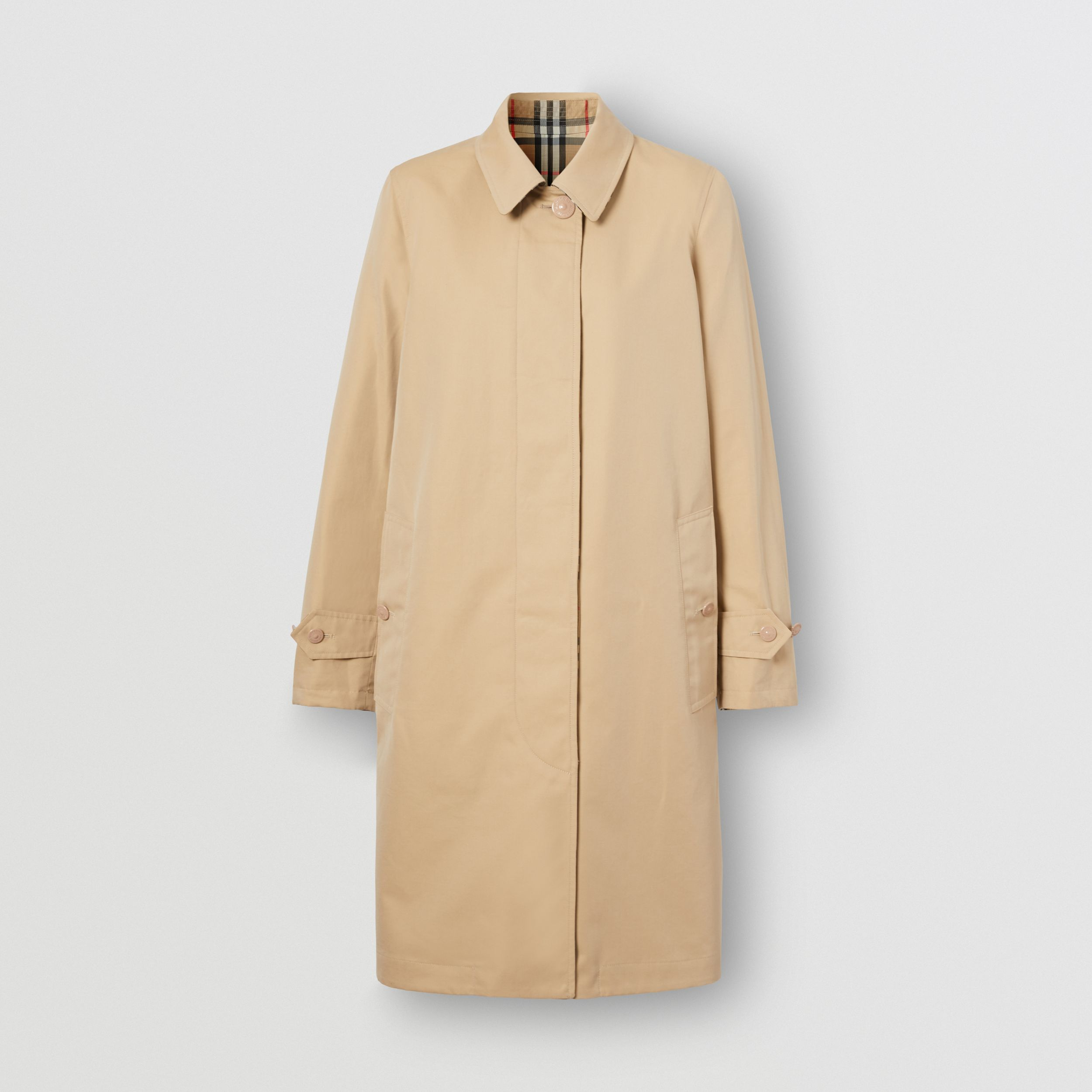 Reversible Cotton and Vintage Check Car Coat in Honey - Women | Burberry - 4
