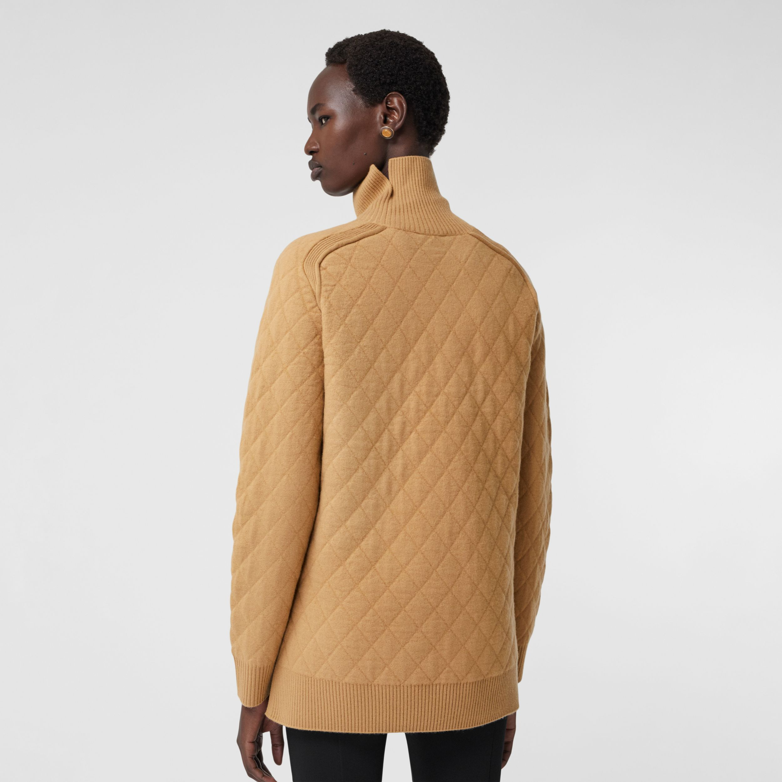 Diamond Knit Wool Funnel Neck Sweater in Camel - Women | Burberry - 3