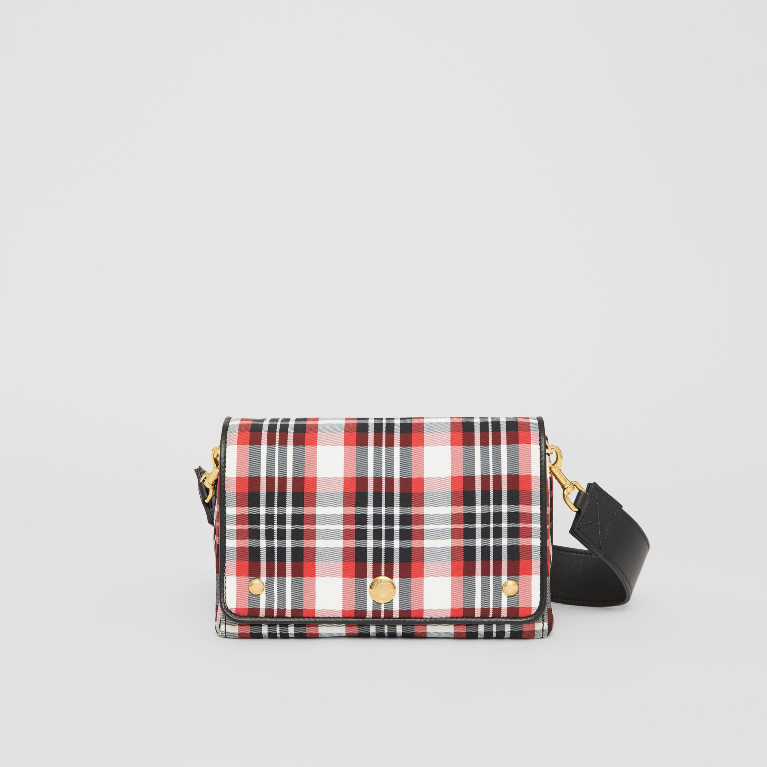 Small Tartan Nylon Crossbody Bag in Bright Red - Women | Burberry Canada - 1