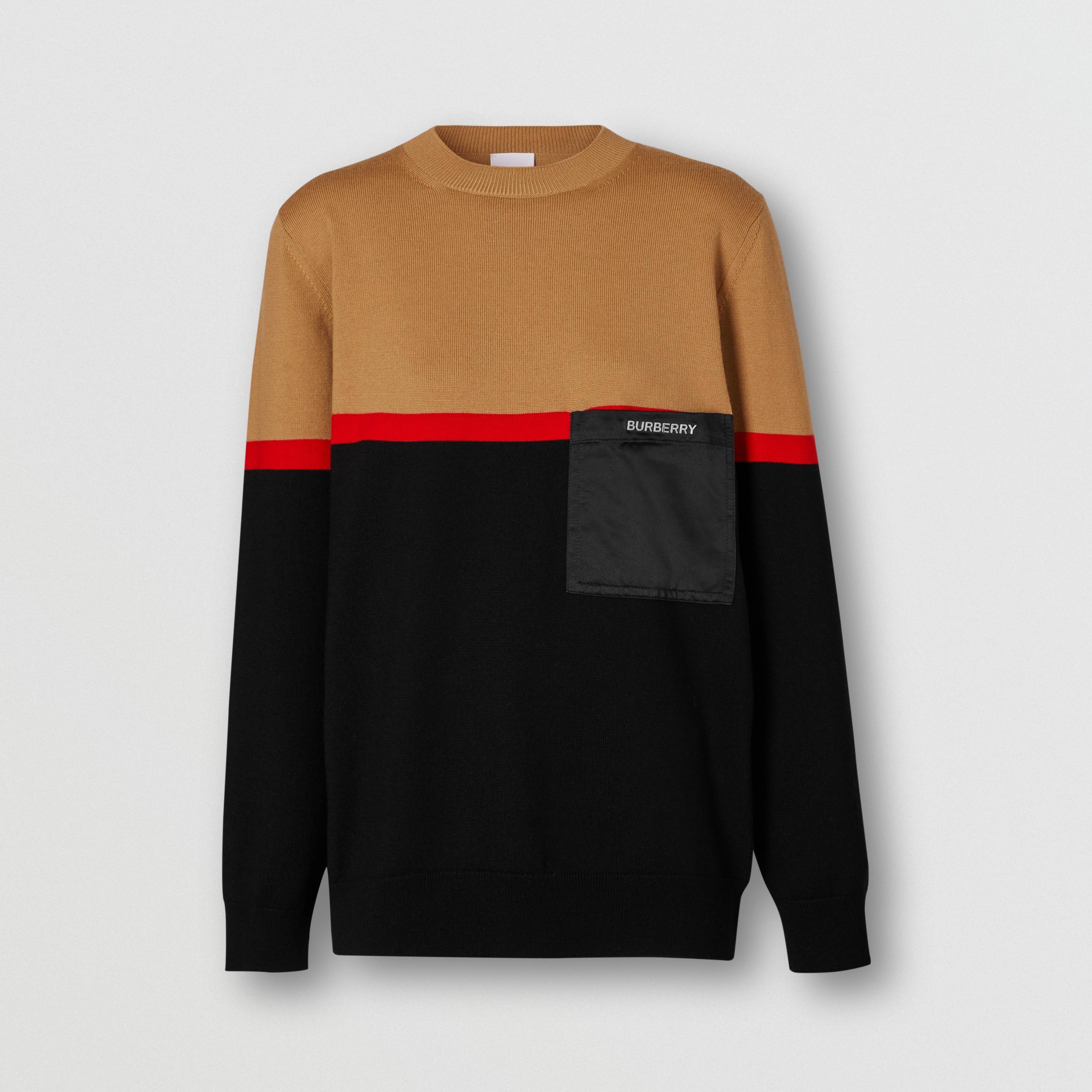 Pullover a blocchi di colore in lana Merino e cotone (Nero) - Donna | Burberry - 4