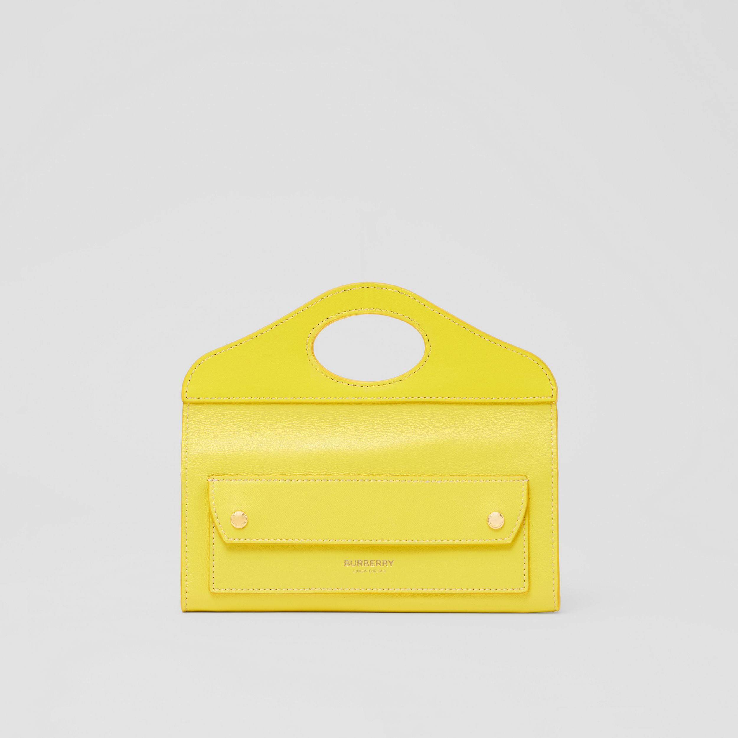 Mini Topstitched Lambskin Pocket Clutch in Marigold Yellow - Women | Burberry Hong Kong S.A.R. - 1