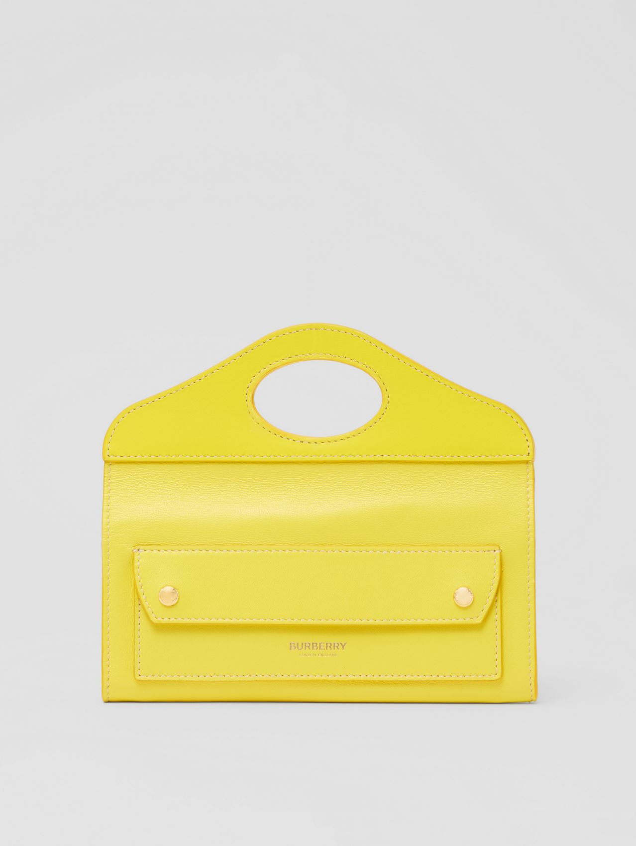 Mini Topstitched Lambskin Pocket Clutch in Marigold Yellow