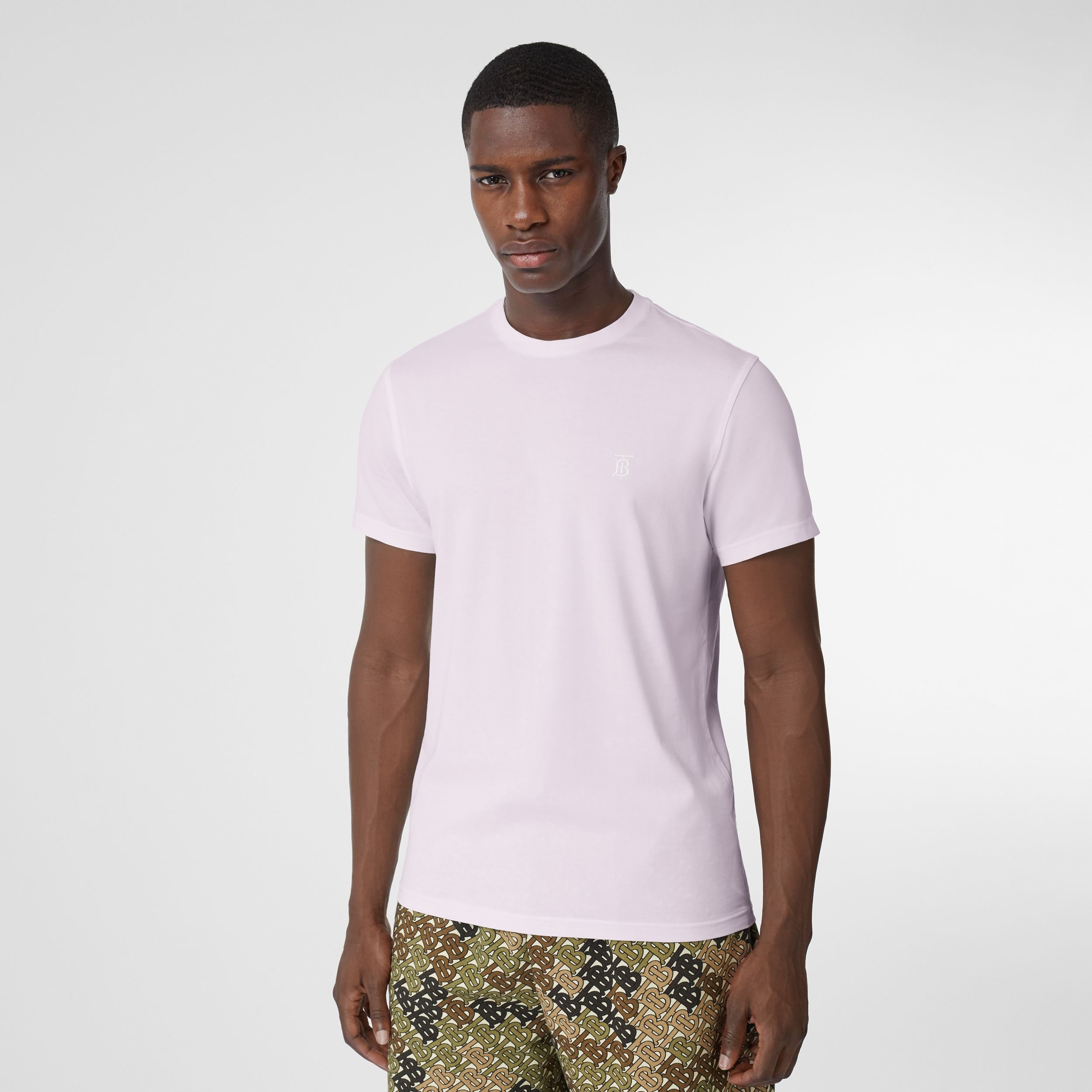 Monogram Motif Cotton T-shirt in Pale Thistle - Men | Burberry - 1