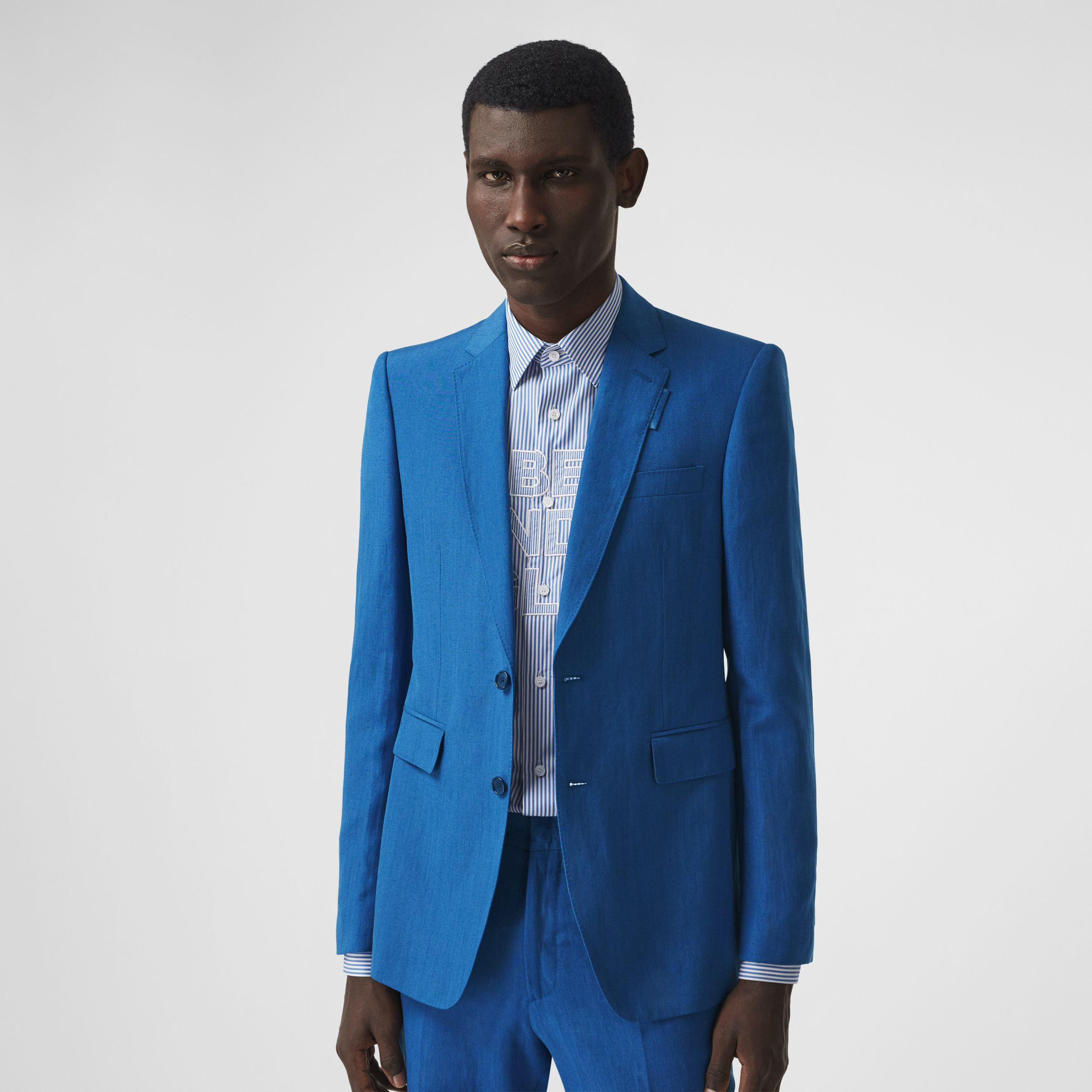 Classic Fit Linen Mohair Silk Tailored Jacket in Dark Cerulean Blue - Men | Burberry Hong Kong S.A.R. - 1