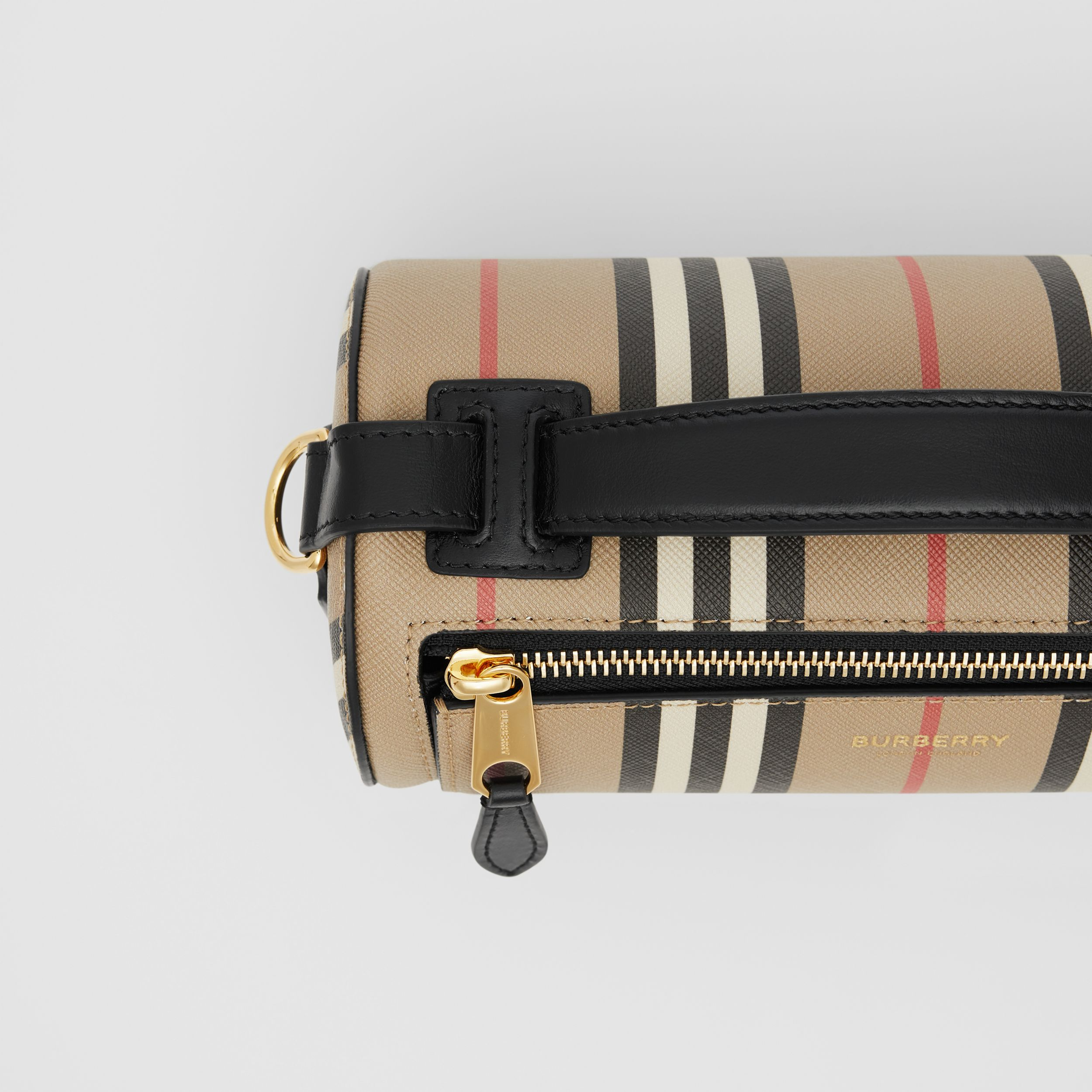 The Icon Stripe E-canvas and Leather Barrel Bag in Archive Beige - Women | Burberry - 2