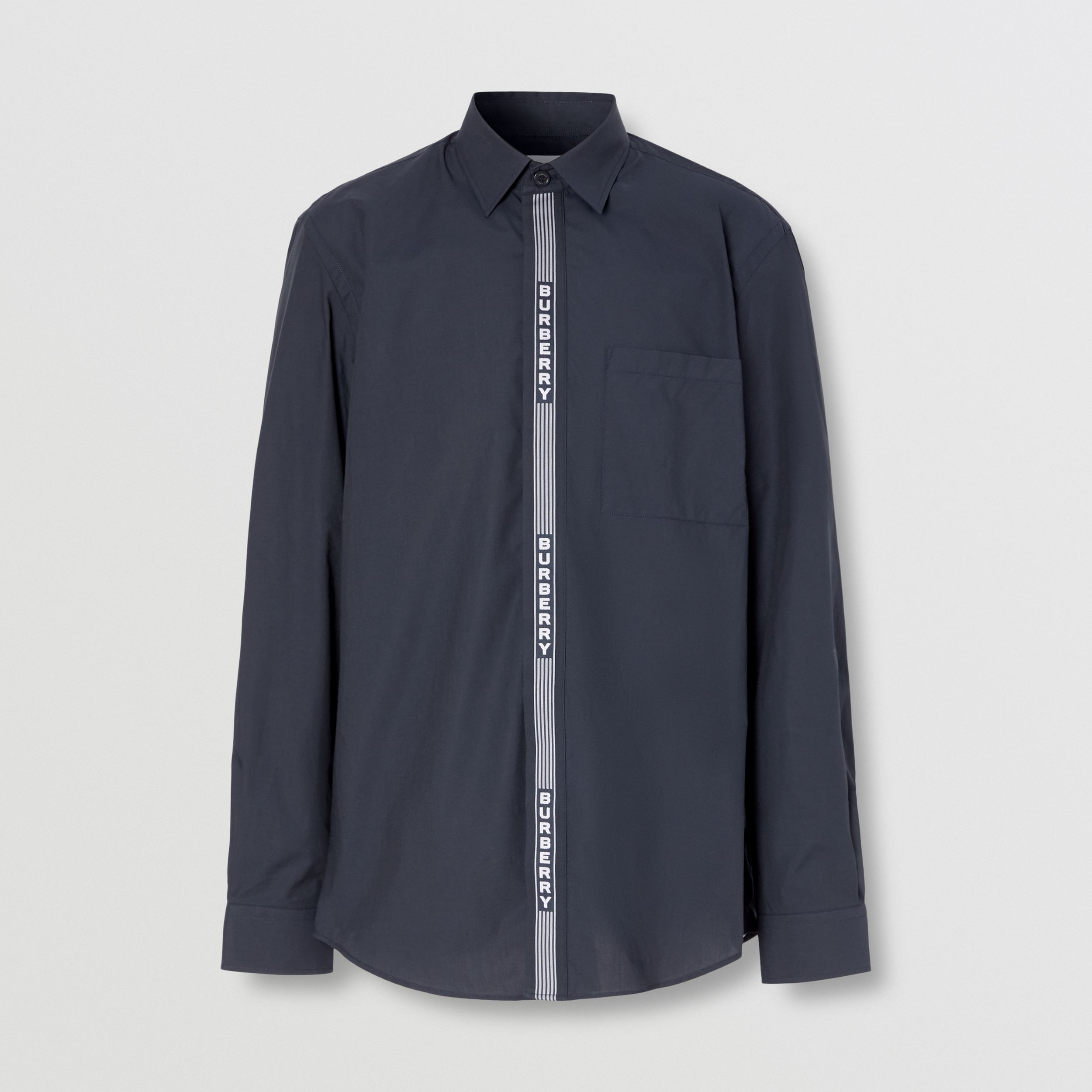 Logo Tape Cotton Shirt in Navy/white - Men | Burberry Hong Kong S.A.R. - 4