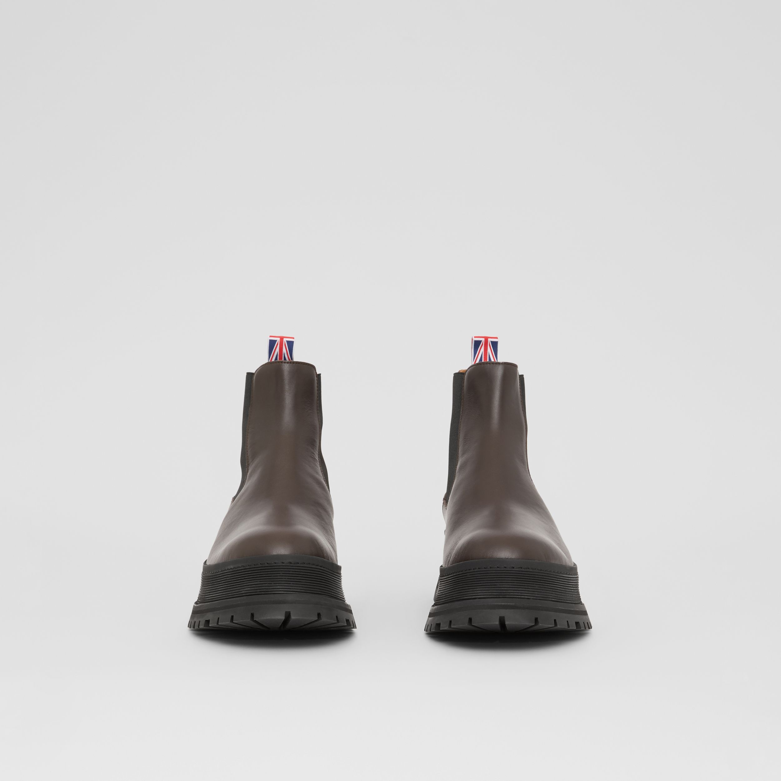 Logo Detail Leather Chelsea Boots in Dark Chocolate - Men | Burberry Singapore - 3