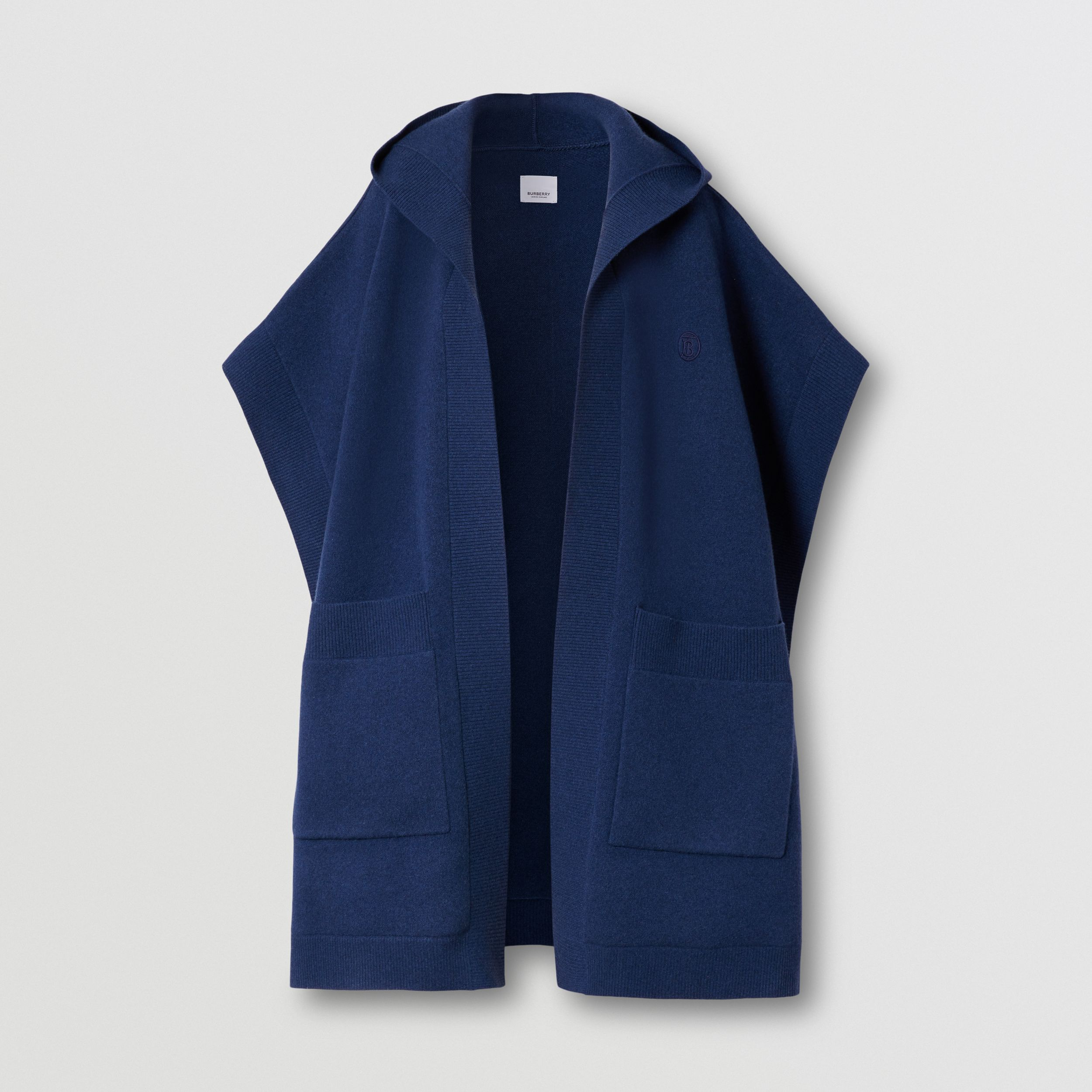 Monogram Motif Cashmere Blend Hooded Cape in Ink Blue - Women | Burberry - 4