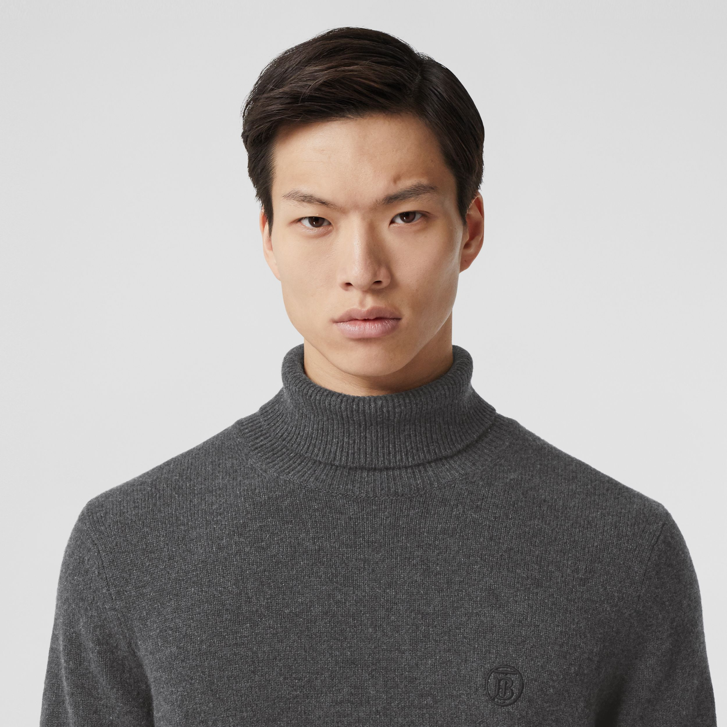 Monogram Motif Cashmere Roll-neck Sweater in Charcoal - Men | Burberry Australia - 2