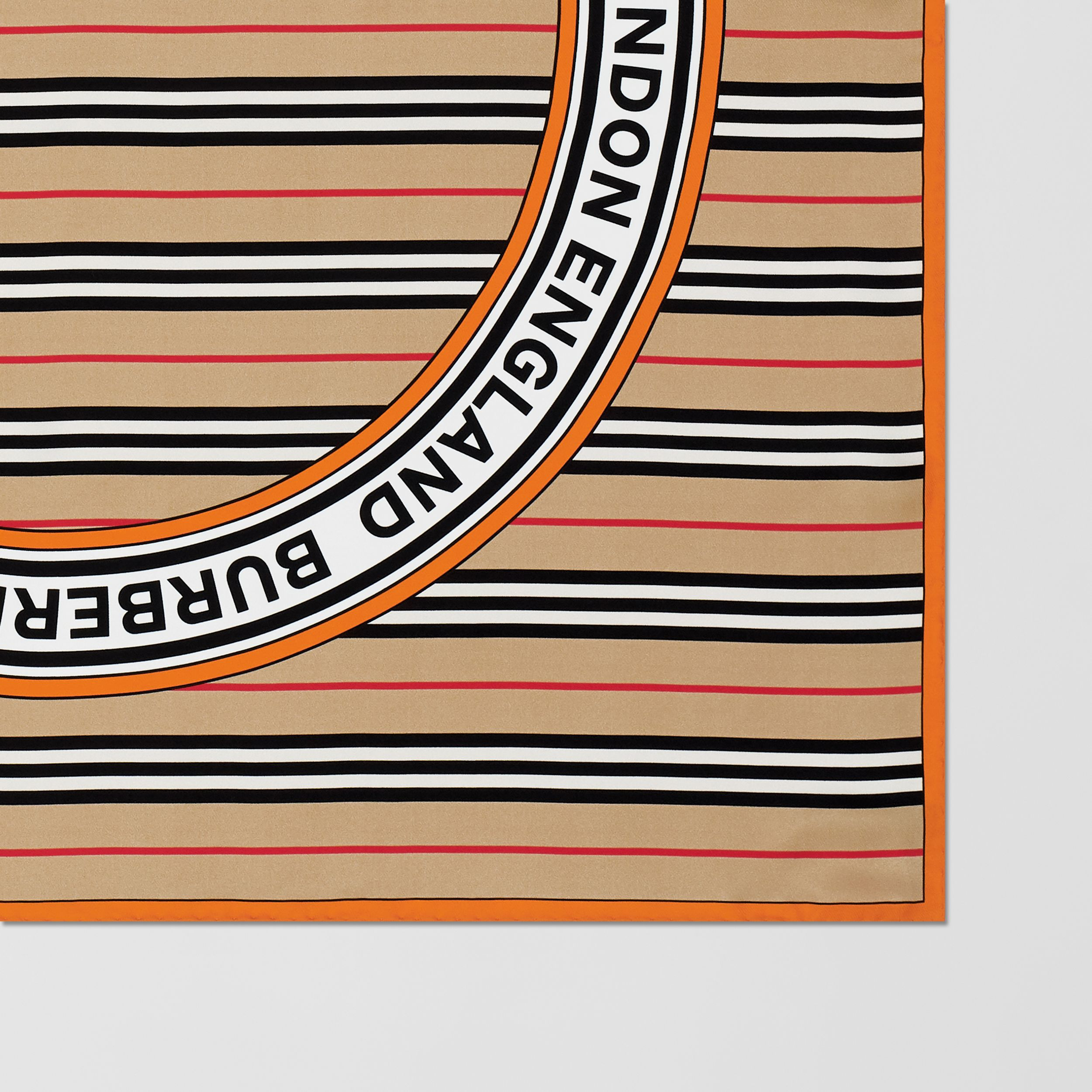 Icon Stripe and Logo Graphic Silk Square Scarf in Archive Beige | Burberry - 2