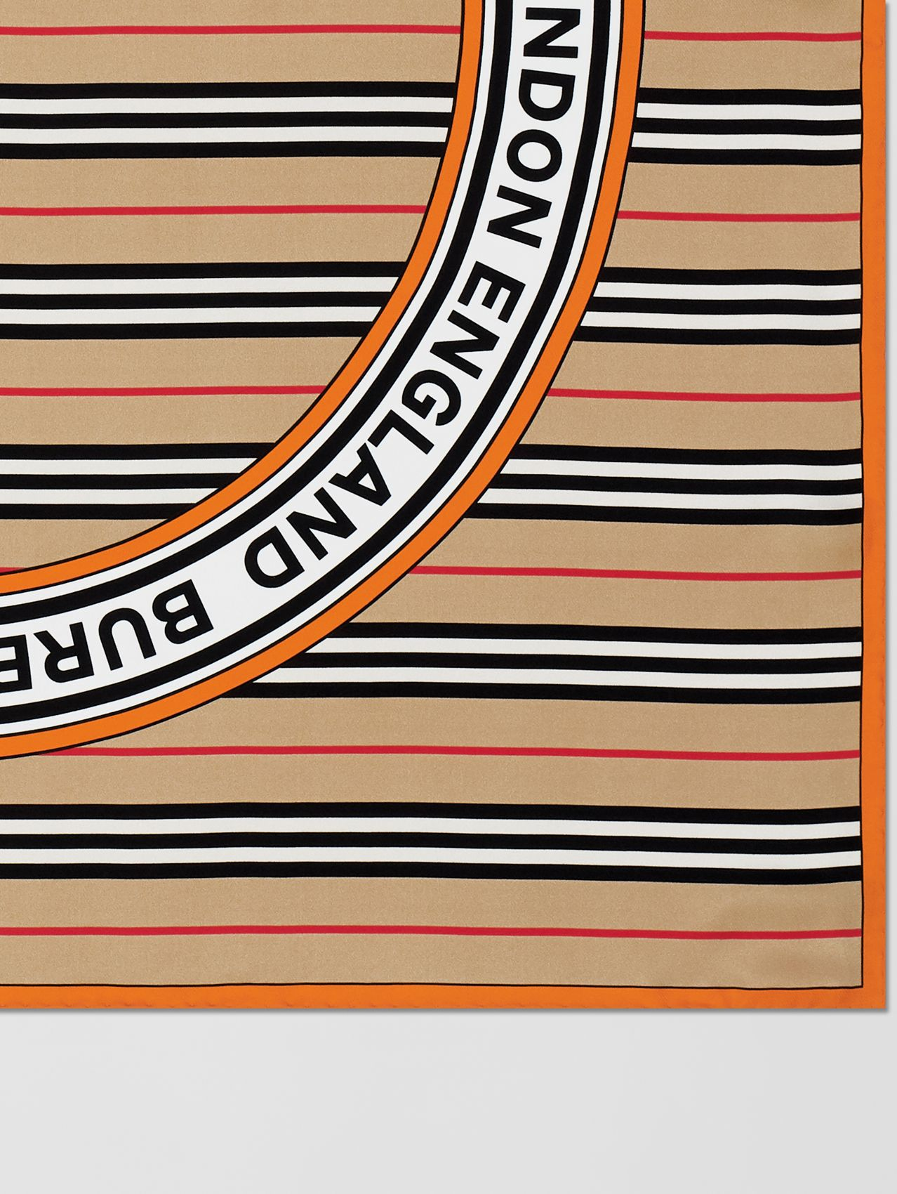 Icon Stripe and Logo Graphic Silk Square Scarf (Archive Beige)