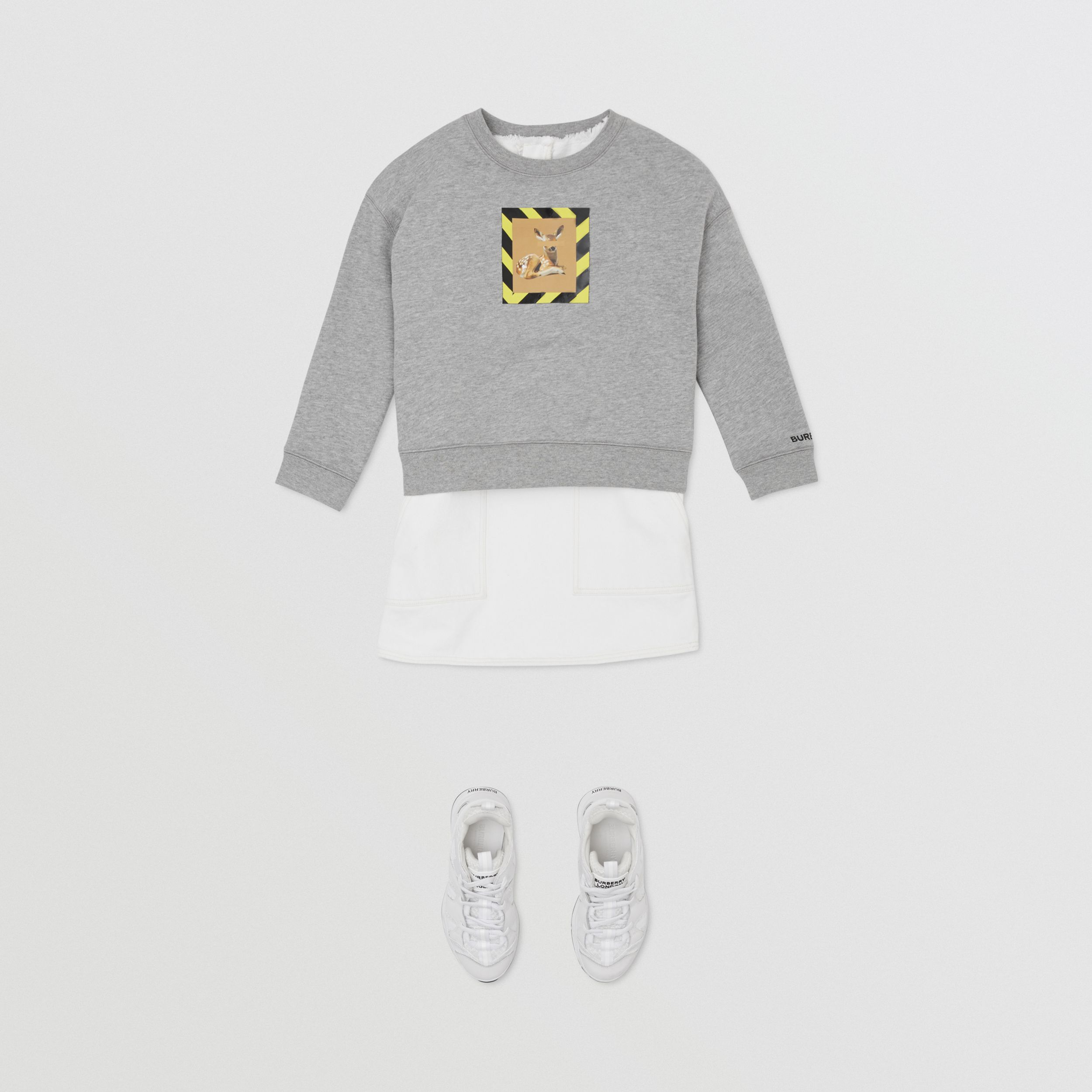 Deer Print Cotton Sweatshirt in Grey Melange | Burberry - 4