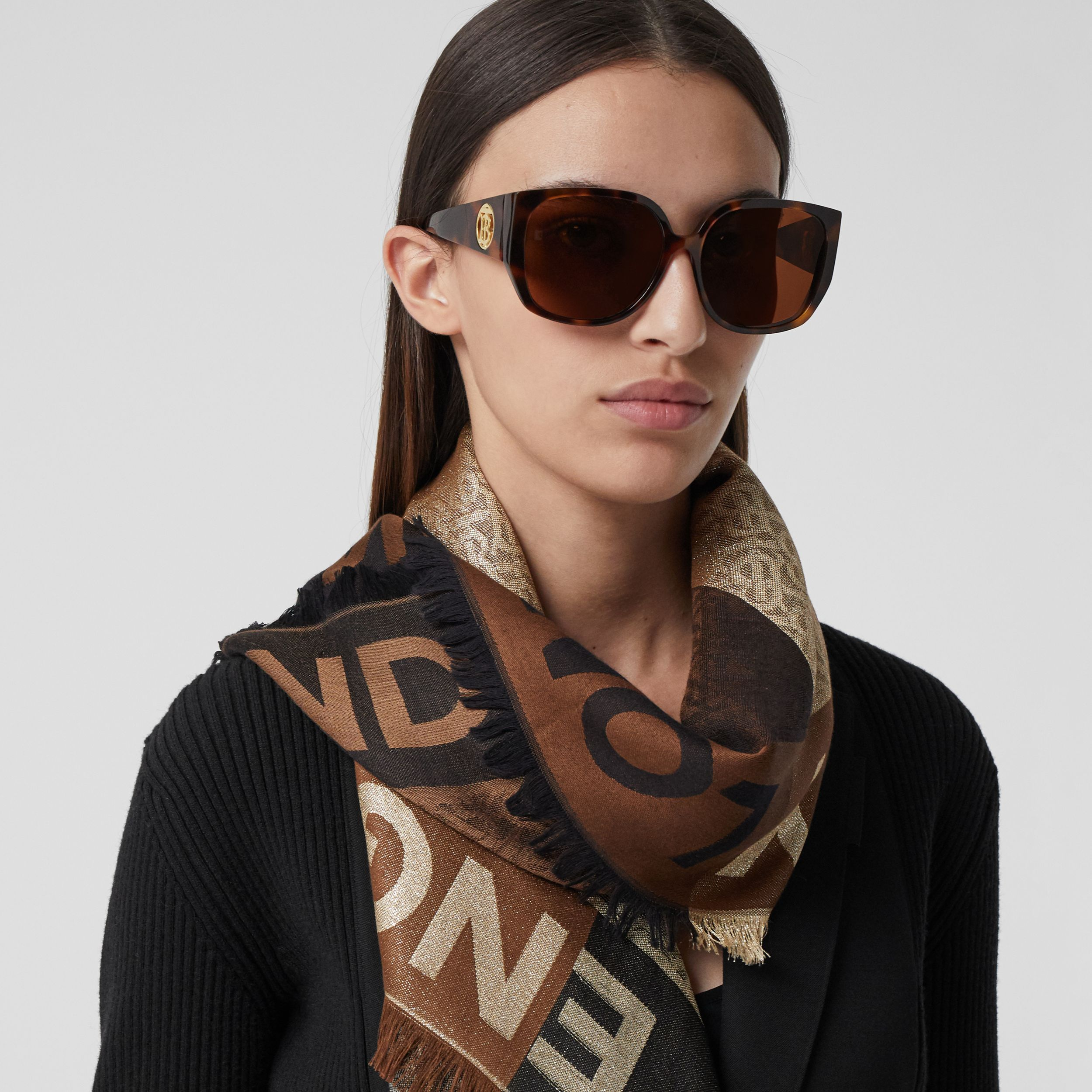 Monogram Silk Wool Jacquard Large Square Scarf in Archive Beige | Burberry Canada - 3