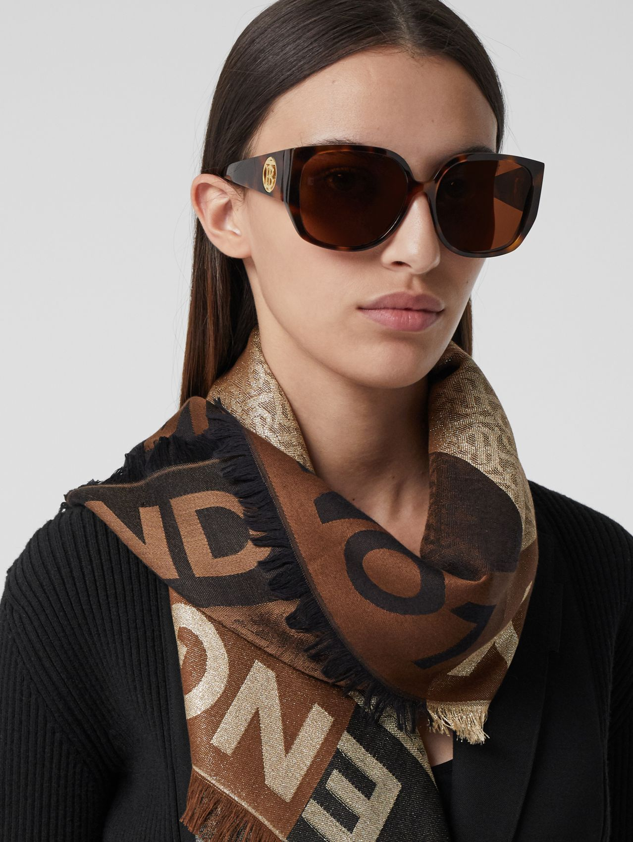 Monogram Silk Wool Jacquard Large Square Scarf in Archive Beige