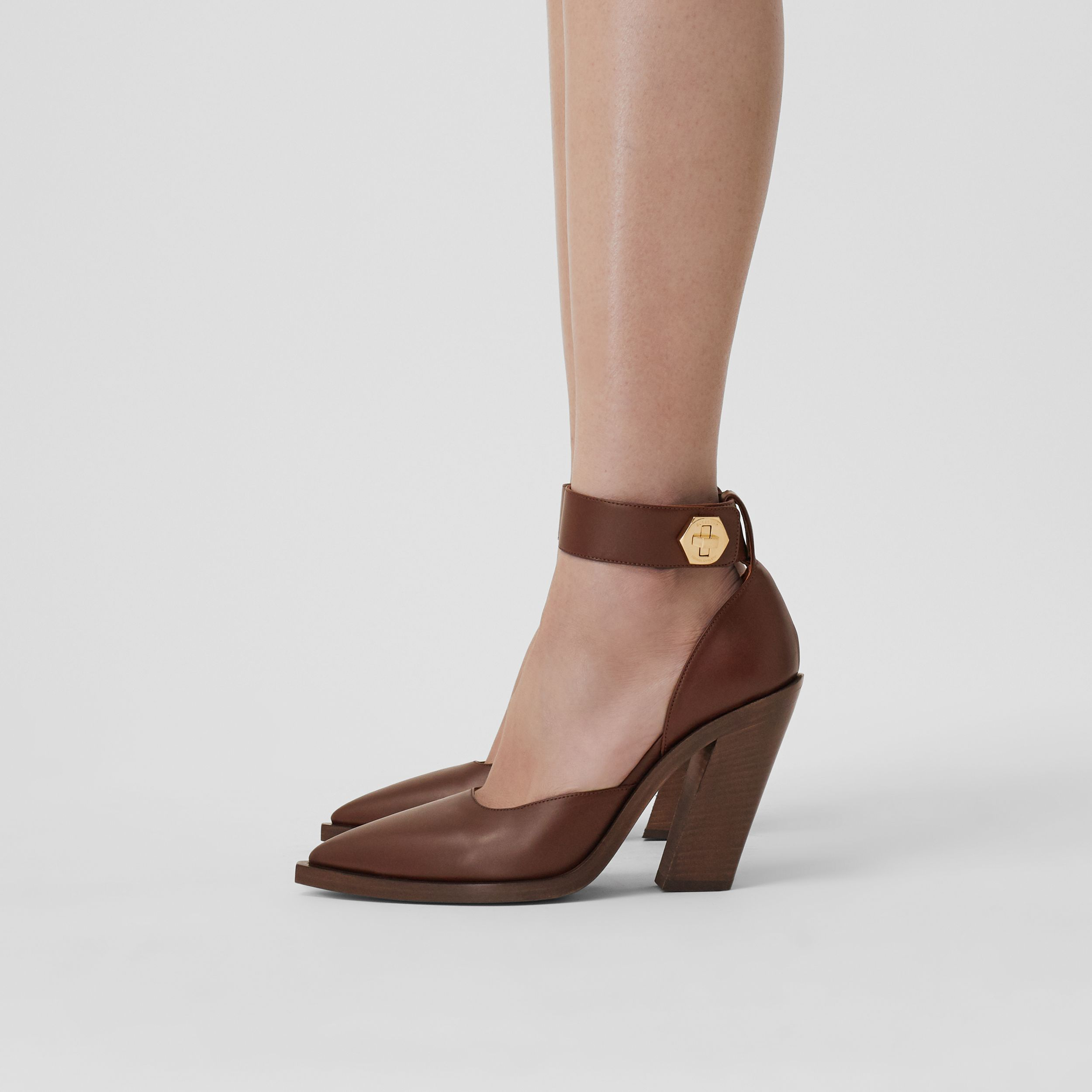 Leather Point-toe Pumps in Tan - Women | Burberry - 3