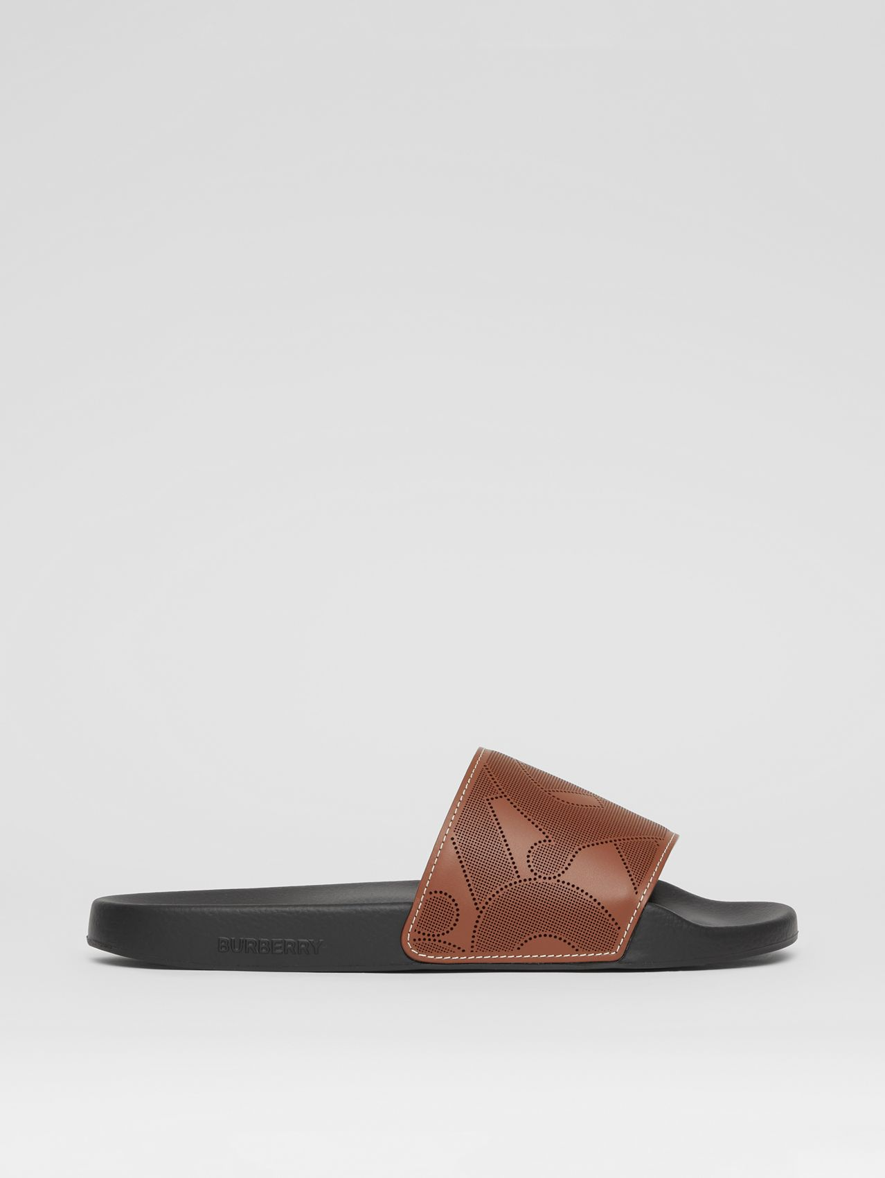Perforated Monogram Leather Slides in Tan