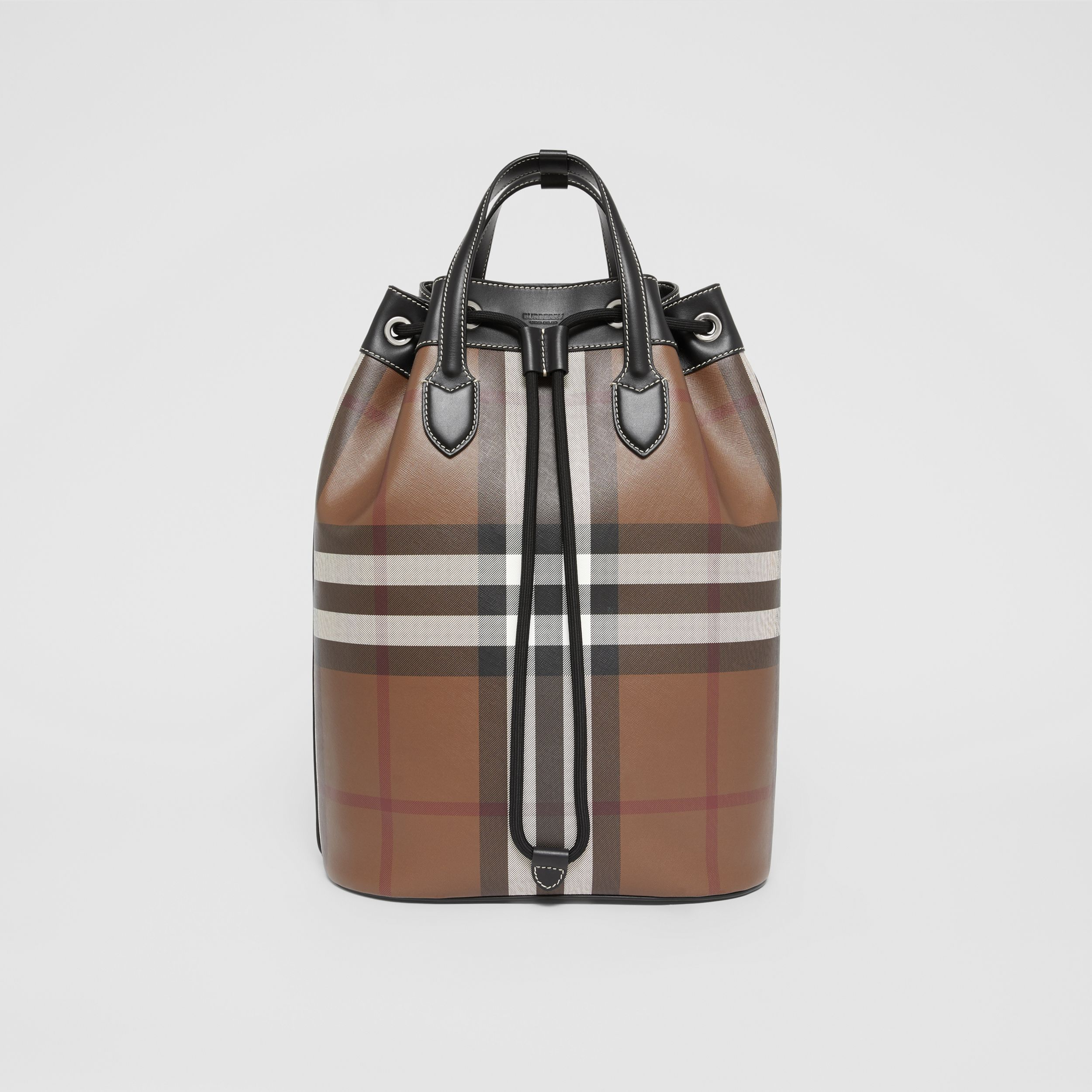 Check Print Leather Drawcord Backpack in Dark Birch Brown | Burberry - 1