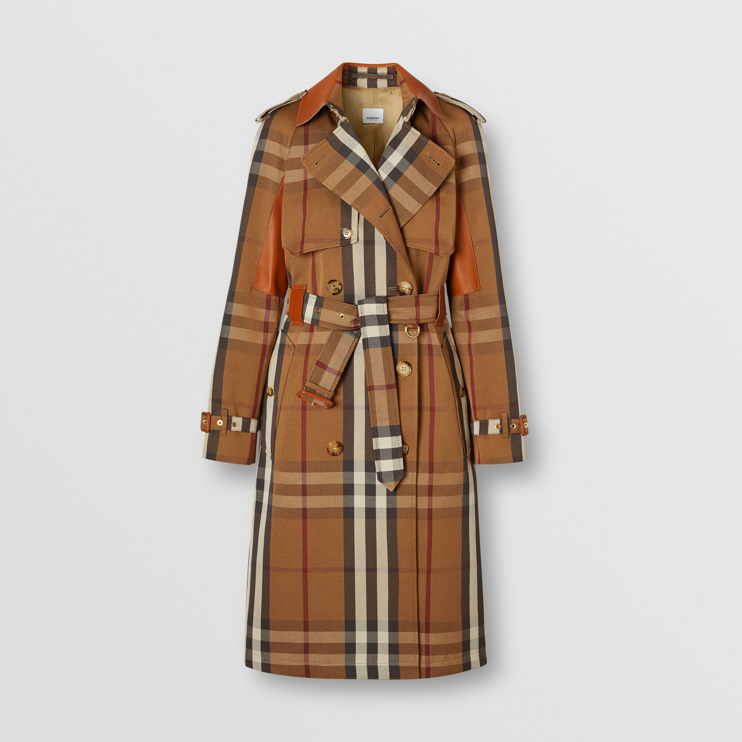 Leather Panel Check Technical Cotton Trench Coat in Birch Brown - Women | Burberry Canada - 2