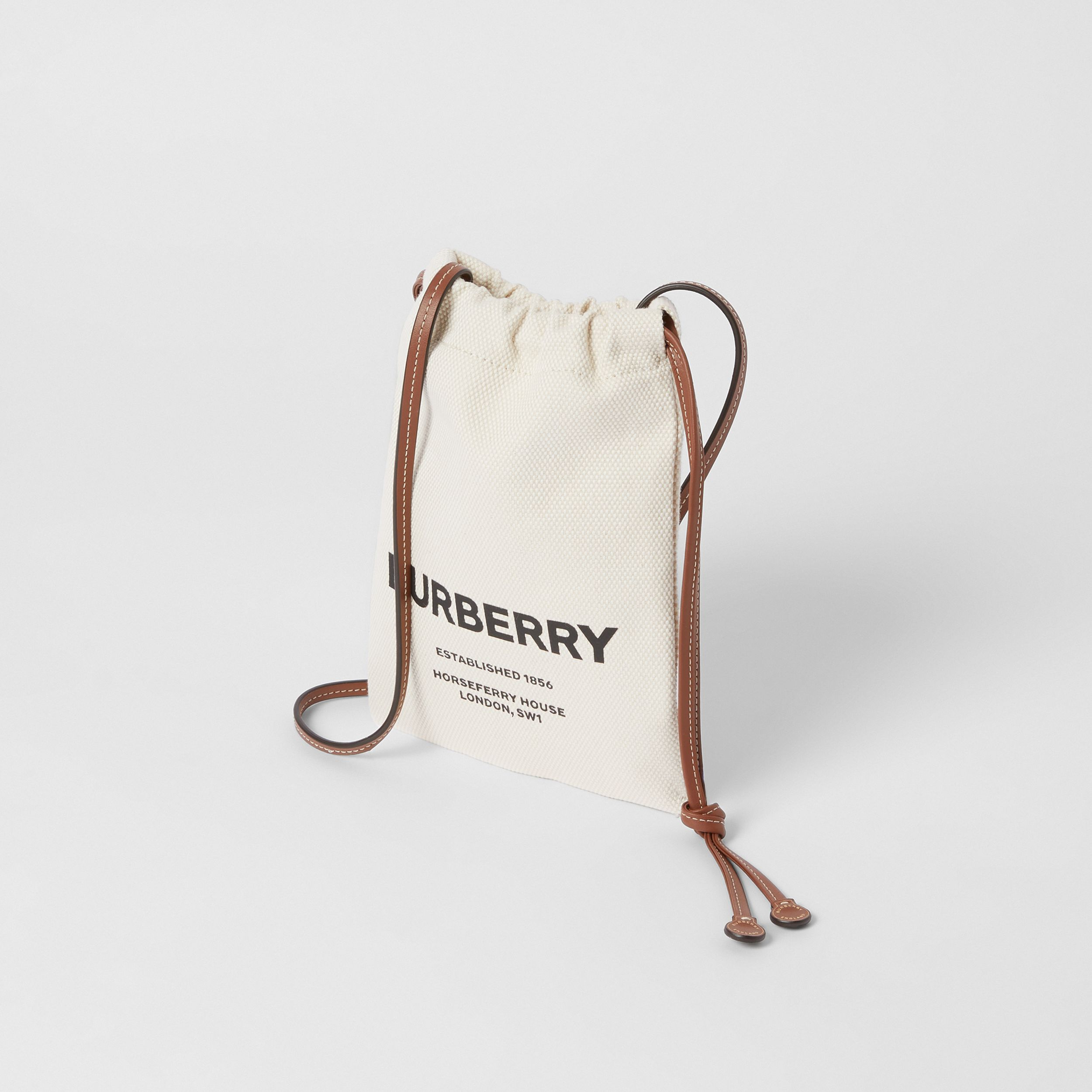 Small Horseferry Print Cotton Canvas Drawcord Pouch in Natural/tan/black - Women | Burberry - 4
