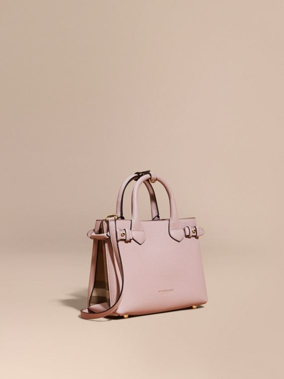 The Small Banner in Leather and House Check in Pale Orchid - Women | Burberry Hong Kong