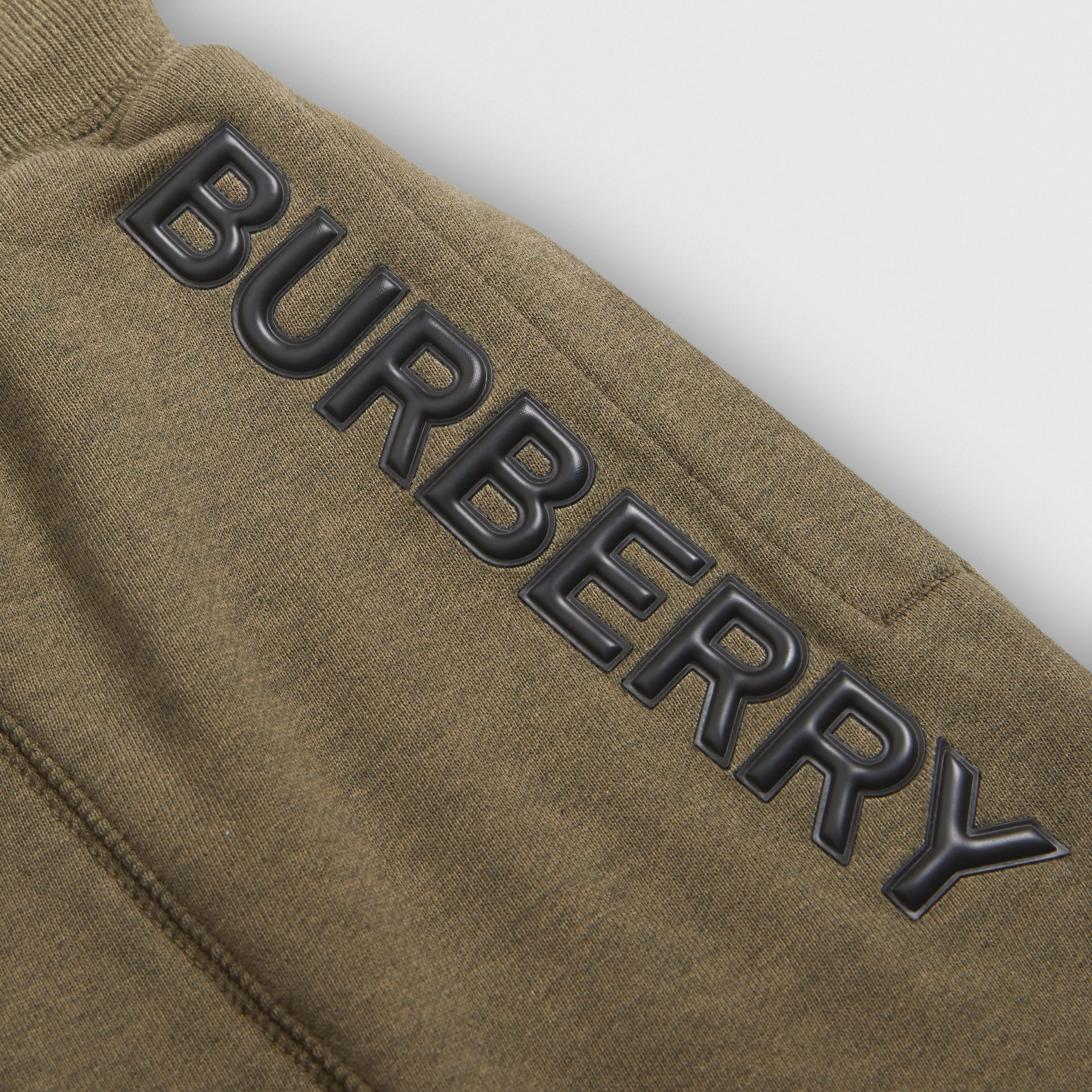 Logo Detail Cotton Drawcord Shorts in Military Olive | Burberry - gallery image 1