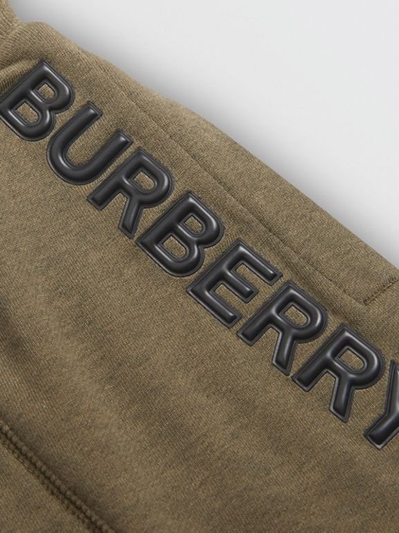 Logo Detail Cotton Drawcord Shorts in Military Olive | Burberry Singapore - cell image 1