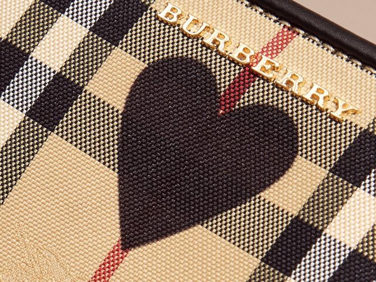 Noir Clutch en tissu check à imprimé à cœurs et cuir Noir - cell image 1