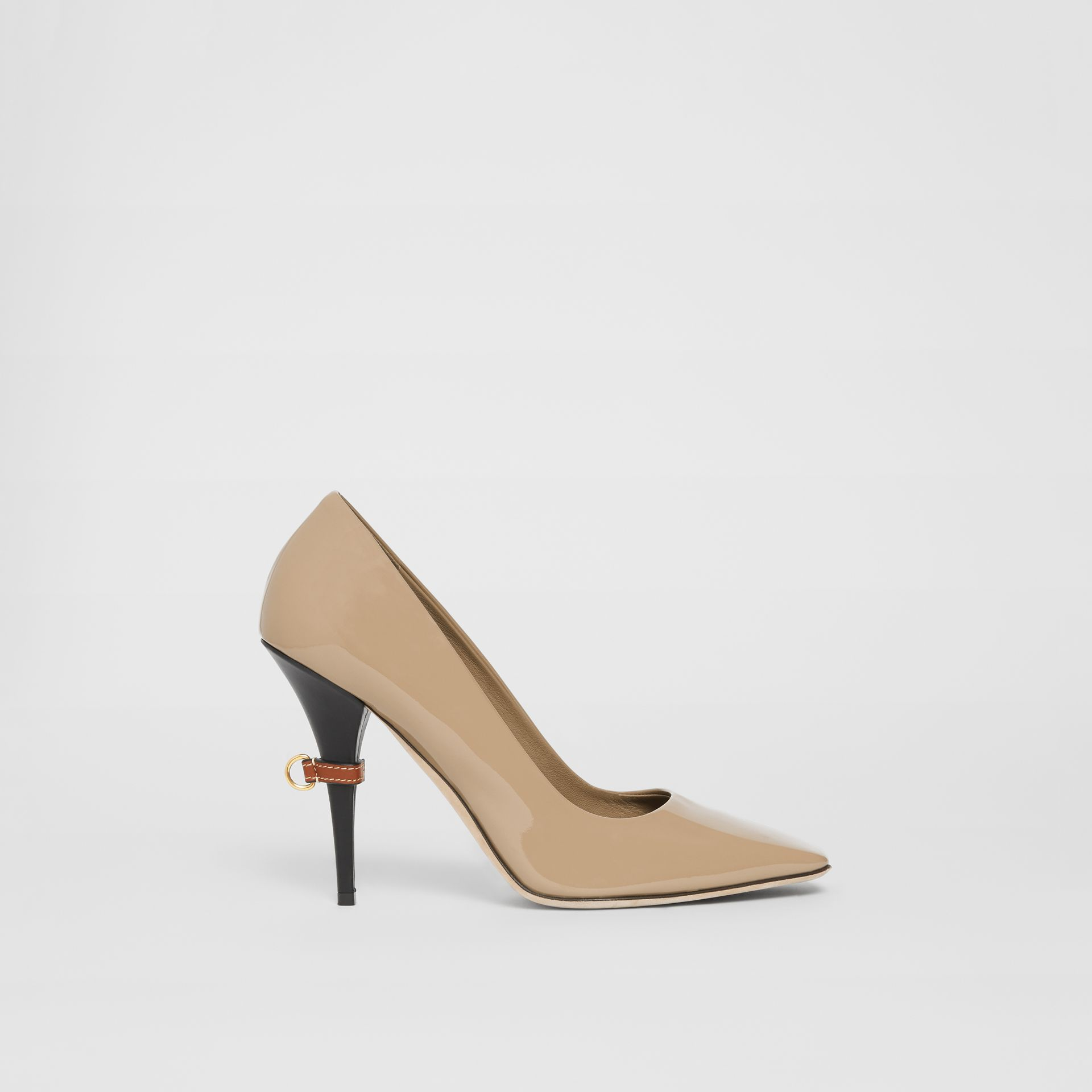 D-ring Detail Patent Leather Square-toe Pumps in Dark Honey - Women | Burberry United Kingdom - gallery image 5