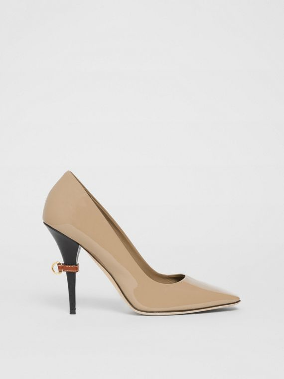 D-ring Detail Patent Leather Square-toe Pumps in Dark Honey