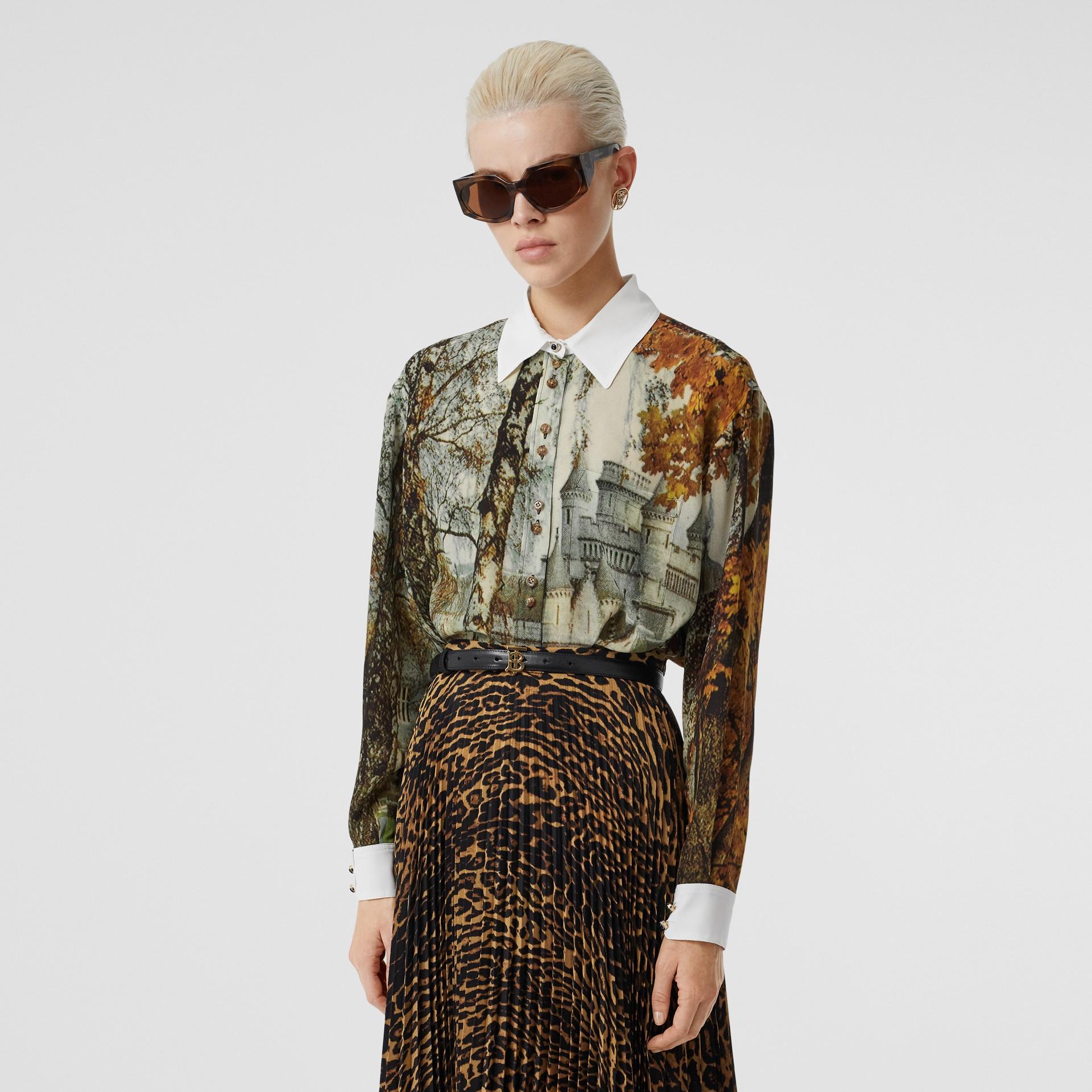 Castle Print Silk Shirt in Pale Cream - Women | Burberry United Kingdom - gallery image 4