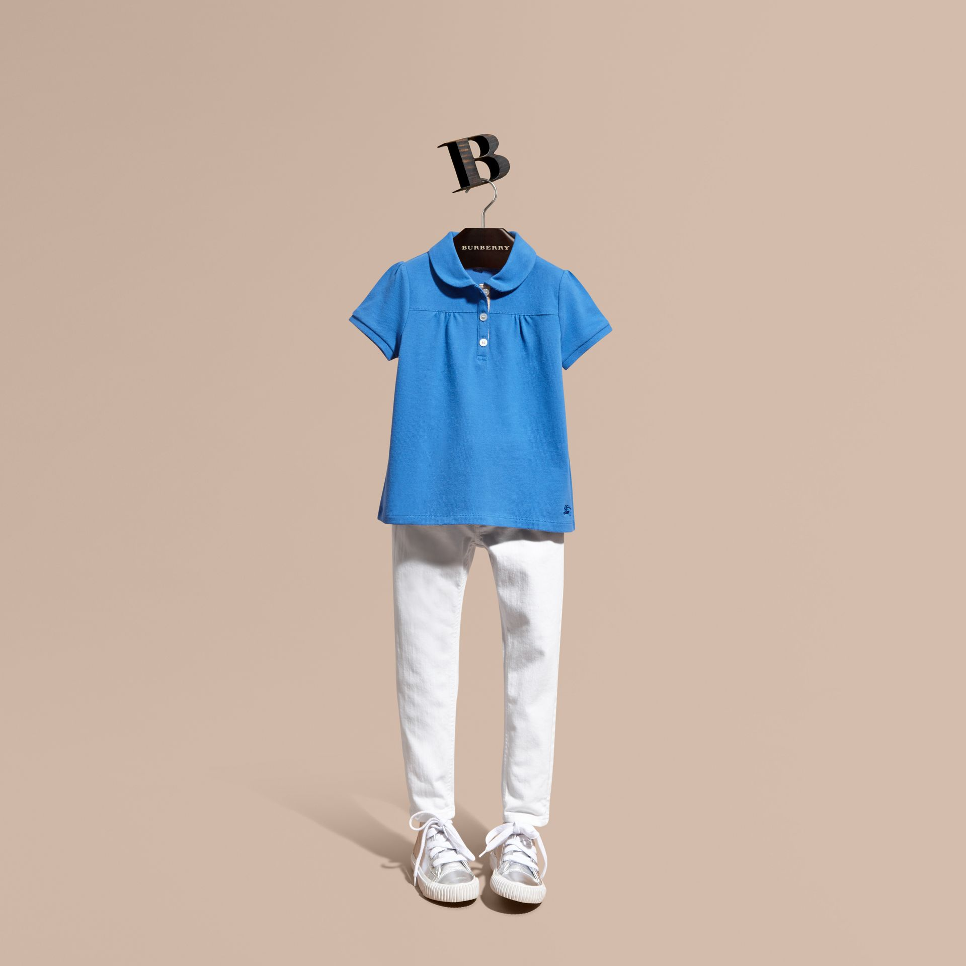 Peter Pan Collar Cotton Piqué Polo Shirt in Hydrangea Blue - gallery image 1