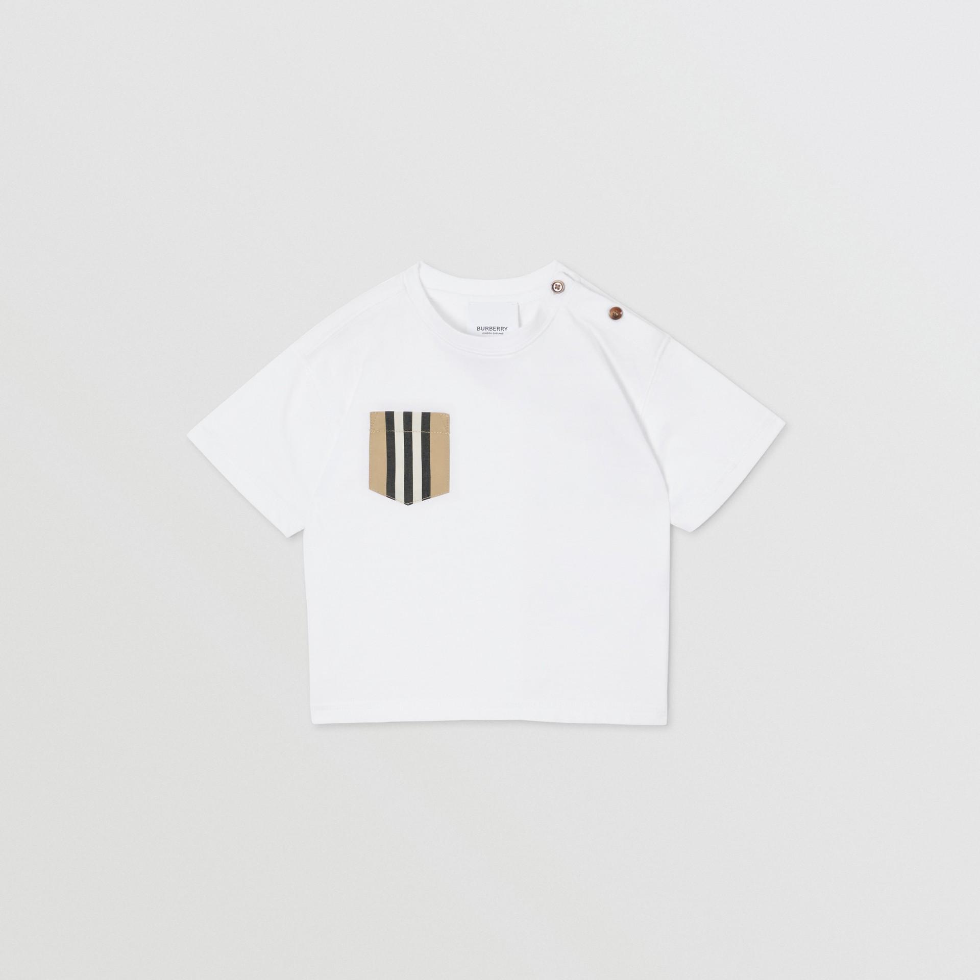 Icon Stripe Pocket Cotton T-shirt in White/archive Beige - Children | Burberry United Kingdom - gallery image 0