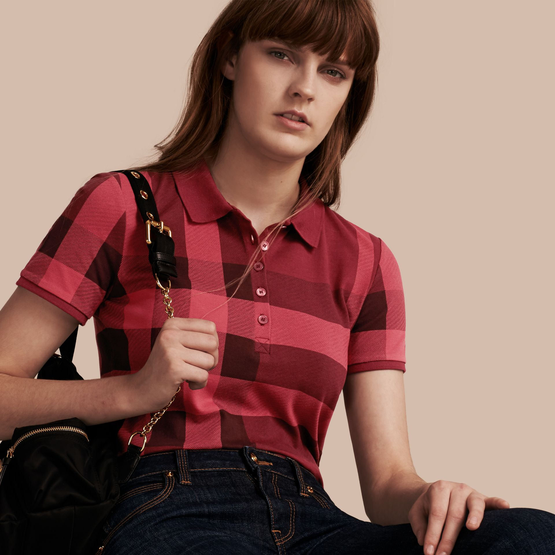 Peony rose Check Stretch Cotton Piqué Polo Shirt Peony Rose - gallery image 6