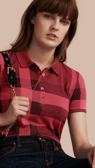 Check Stretch Cotton Piqué Polo Shirt