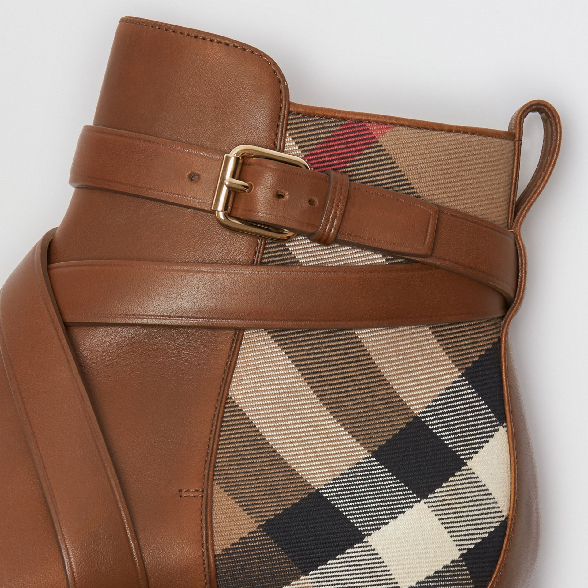 Strap Detail House Check and Leather Ankle Boots in Bright Camel - Women | Burberry - gallery image 1