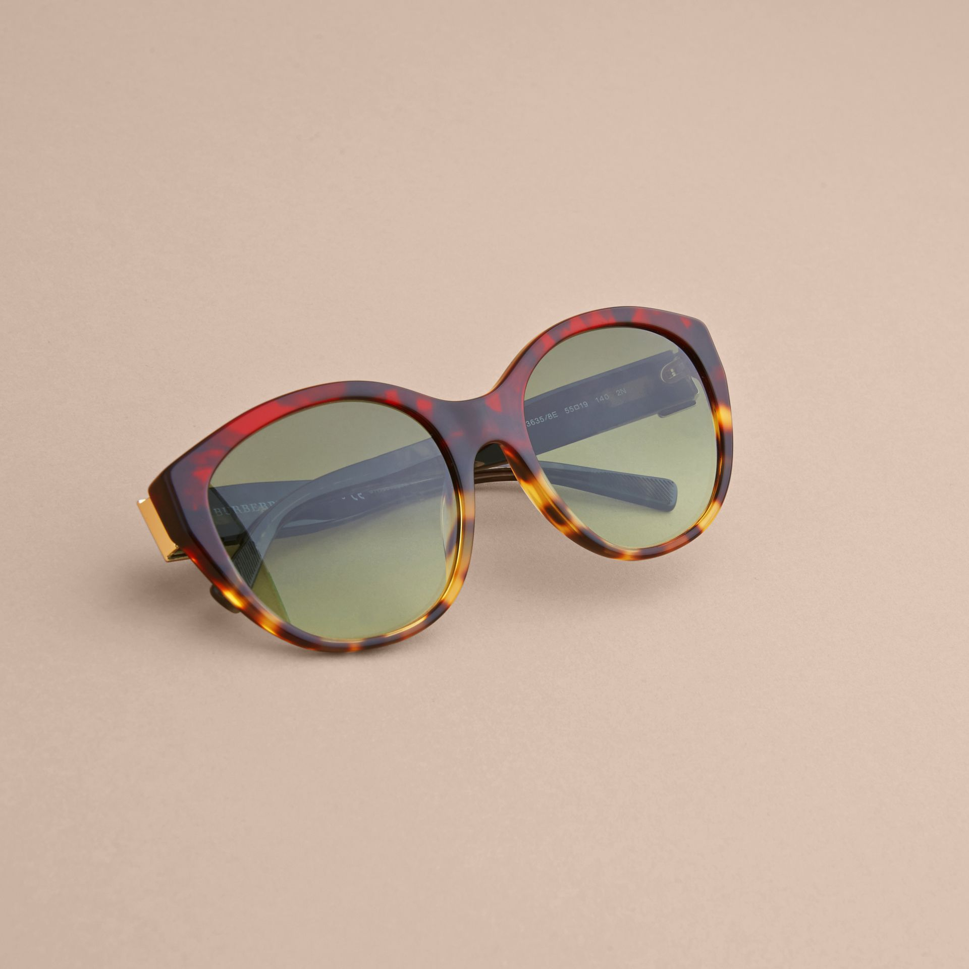 Buckle Detail Round Frame Sunglasses in Amber Yellow - Women | Burberry - gallery image 5