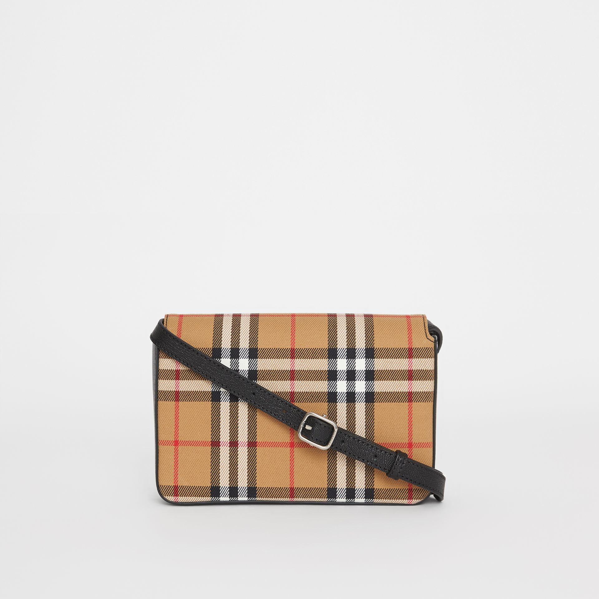 Vintage Check and Leather Wallet with Detachable Strap in Antique Yellow/black - Women | Burberry - gallery image 7